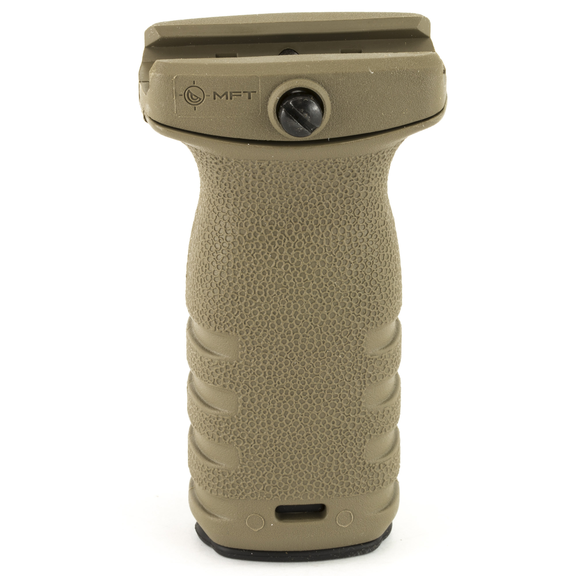"""The React Short grip is a compact textured vertical grip designed to minimize material and dimension while providing a positive grip surface. Allows the support hand to apply rearward pressure keeping the weapon shouldered"""" yielding better muzzle control and accuracy."""