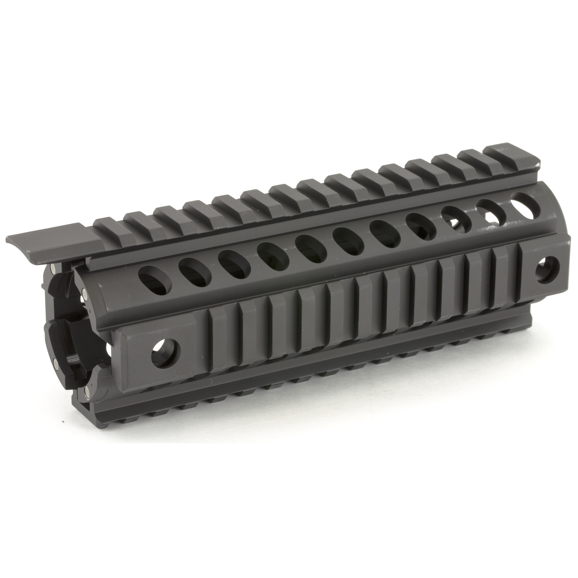 """The Tekko Metal AR15 Carbine Rail System replaces the plastic factory handguard in minutes and requires no gunsmithing or special installation tools. Drop in"""" screw less"""" installation means no permanent alterations need be made to the rifle. The unit is held in place by the Delta ring and handguard cap. Four MIL-STD Picatinny Rails provide secure mounting for rail attachments and accessories such as vertical grips"""" lights"""" lasers"""" bipods and other rail mounted kit. Monolithic style continuous top rail eliminates the gap between the receiver and rail. Four QD mounts"""" two on each side for push button sling swivels."""