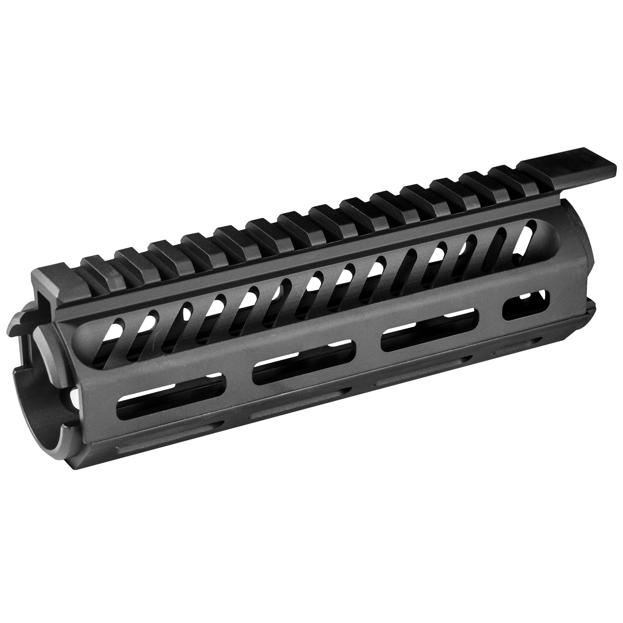 """The Tekko Metal AR-15 Carbine M-LOK(TM) 7"""" Rail System replaces the plastic carbine factory handguard in minutes and requires no gunsmithing or special installation tools. Drop in"""" screw less"""" installation means no permanent alterations need be made to the rifle. The unit is held in place by the Delta ring and handguard cap. M-LOK(TM) attachment system provides secure mounting for M-LOK(TM) accessories such as MIL-STD 1913 Picatinny Rail attachments vertical grips"""" lights"""" lasers"""" bipods and other rail mounted kit. M-LOK(TM) system allows for universal modularity between numerous manufacturers of accessories"""" and accessory rails."""