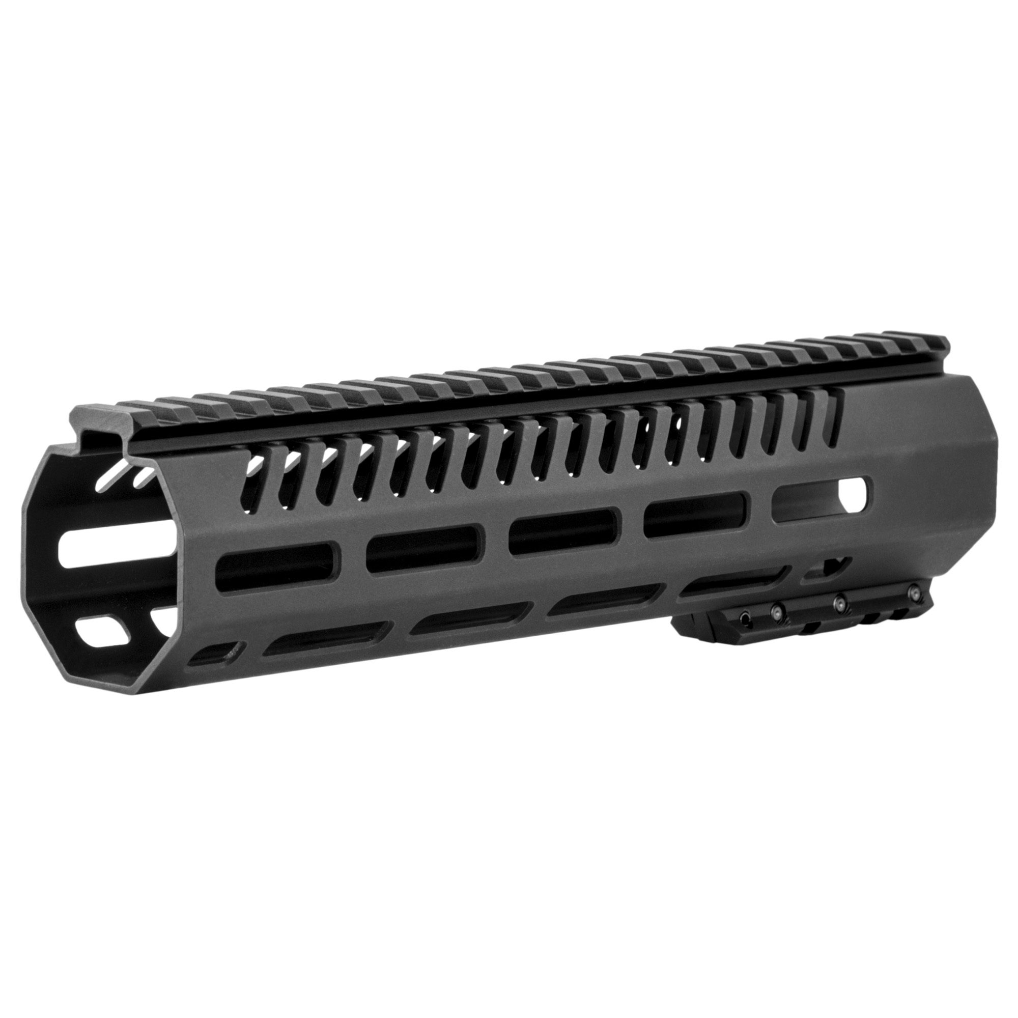 """The Tekko metal 10"""" AR-15 Free Float M-LOK rail system replaces the plastic factory handguard. M-LOK(TM) attachment system provides secure mounting for MIL-STD 1913 Picatinny Rails and accessories such as vertical grips"""" lights"""" lasers"""" bipods and other rail mounted kit. Will accommodate most suppressor installations. Patent pending mounting"""" indexing and lock up system. Larger range of modularity with offset mounting positions as well as the traditional 12"""" 3"""" 6 and 9 o'clock positions. Monolithic style top rail eliminates the gap between the receiver and rail. Minor assembly required"""" utilizes standard barrel nut and will accommodate a standard front sight post"""" low profile gas block or Picatinny Rail gas block. The M-LOK(TM) system allows for universal modularity between numerous manufacturers of accessories"""" and accessory rails."""