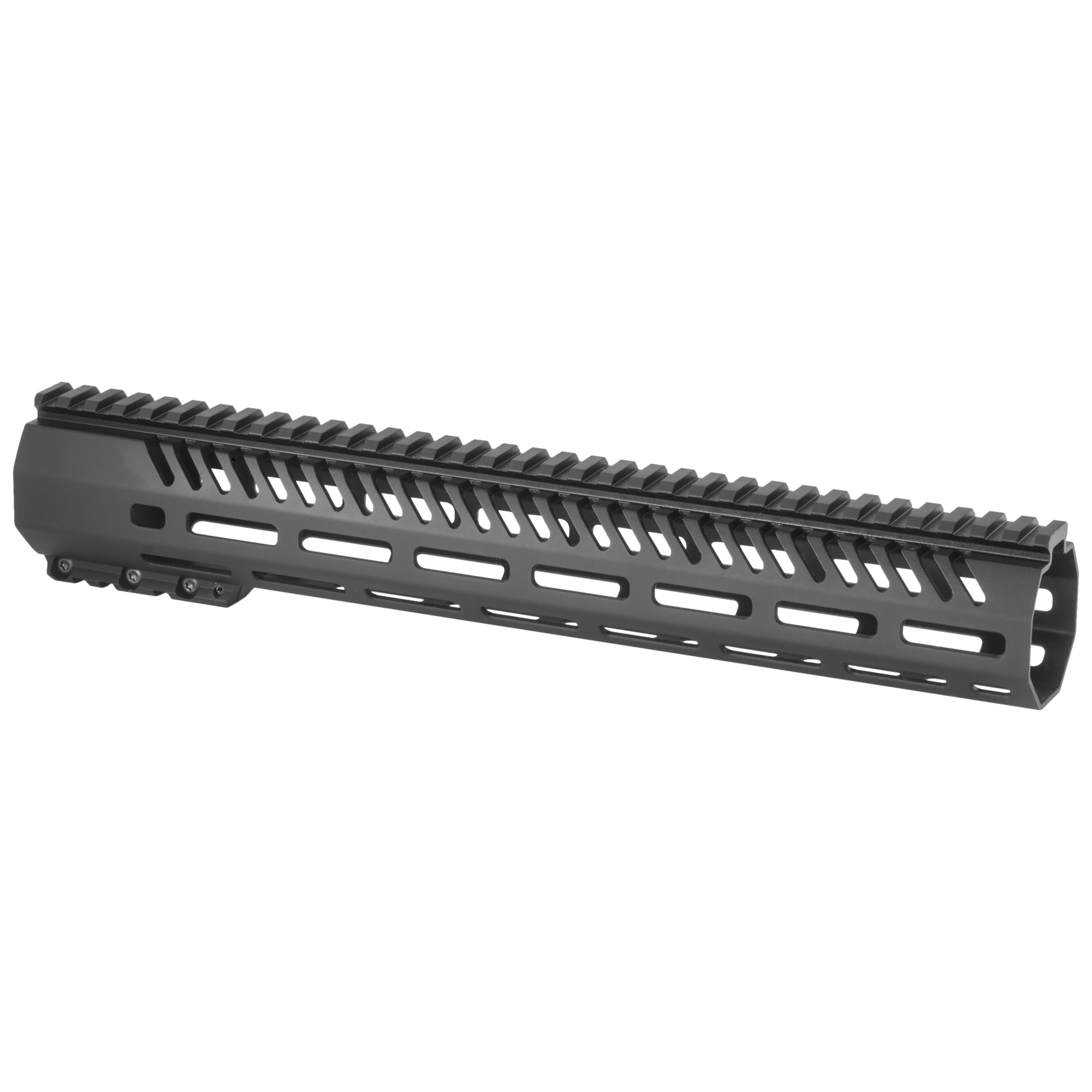 """The Tekko Metal 13.5"""" AR-15 Free float M-LOK Rail System replaces the plastic factory handguard. M-LOK(TM) attachment system provides secure mounting for MIL-STD 1913 Picatinny Rails and accessories such as vertical grips"""" lights"""" lasers"""" bipods and other rail mounted kit. Will accommodate most suppressor installations. Patent pending mounting"""" indexing and lock up system. Larger range of modularity with offset mounting positions as well as the traditional 12"""" 3"""" 6 and 9 o'clock positions. Monolithic style top rail eliminates the gap between the receiver and rail. Minor assembly required"""" utilizes standard barrel nut and will accommodate a standard front sight post"""" low profile gas block or Picatinny Rail gas block. The M-LOK(TM) system allows for universal modularity between numerous manufacturers of accessories"""" and accessory rails."""