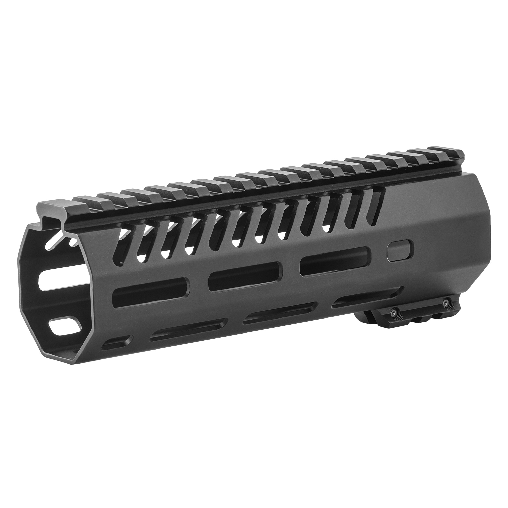 """The Tekko metal AR-15 7"""" free float M-LOK rail system replaces the plastic factory handguard. M-LOK(TM) attachment system provides secure mounting for MIL-STD 1913 Picatinny Rails and accessories such as vertical grips"""" lights"""" lasers"""" bipods and other rail mounted kit. Will accommodate most suppressor installations. Patent pending mounting"""" indexing and lock up system. Larger range of modularity with offset mounting positions as well as the traditional 12"""" 3"""" 6 and 9 o'clock positions. Monolithic style top rail eliminates the gap between the receiver and rail. Minor assembly required"""" utilizes standard barrel nut and will accommodate a standard front sight post"""" low profile gas block or Picatinny Rail gas block. The M-LOK(TM) system allows for universal modularity between numerous manufacturers of accessories"""" and accessory rails."""