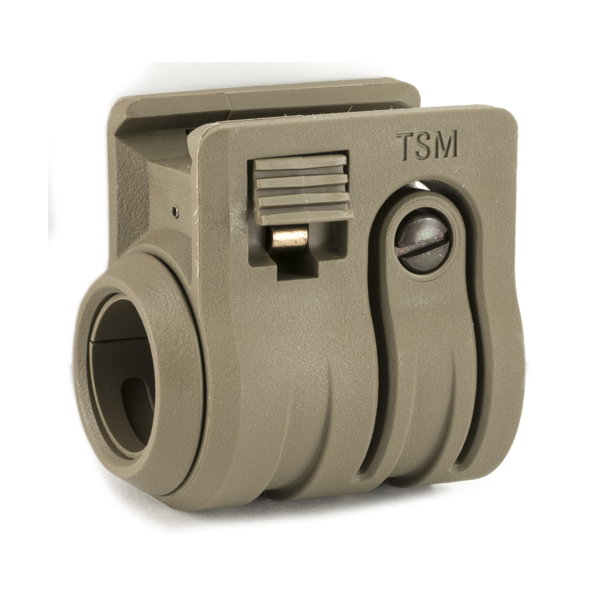 """Flash light/Laser picatinny rail mount accepts a 3/4"""""""" .825"""" or 1"""" illumination device. Two large purchase pads allow for tool free quick mounting or reconfiguration on a Picatinny Rail."""