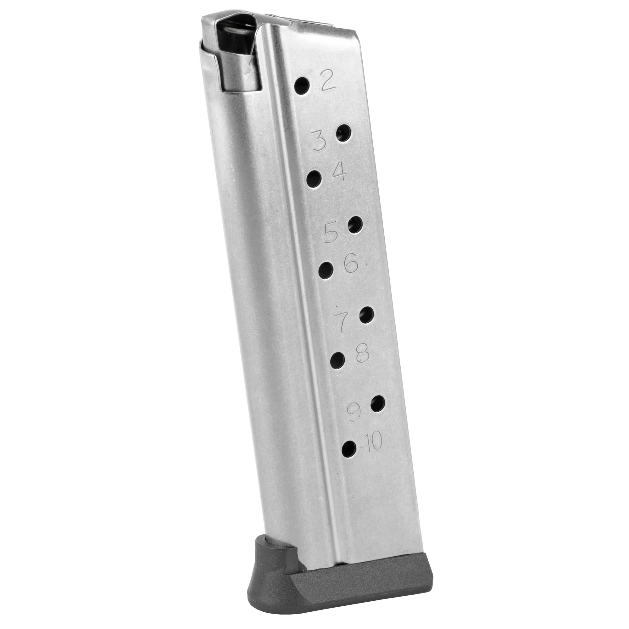 """The Rock Island Armory 1911 Full Size Magazine is a standard factory replacement magazine. This magazine is for single stack 1911 models chambered in 22TCM and holds 10 rounds of ammunition. It is made of steel and is made to Armscor/Rock Island Armory specifications and tolerances"""" using the same manufacturing and materials as the original equipment magazines"""" ensuring perfect fit and operation."""