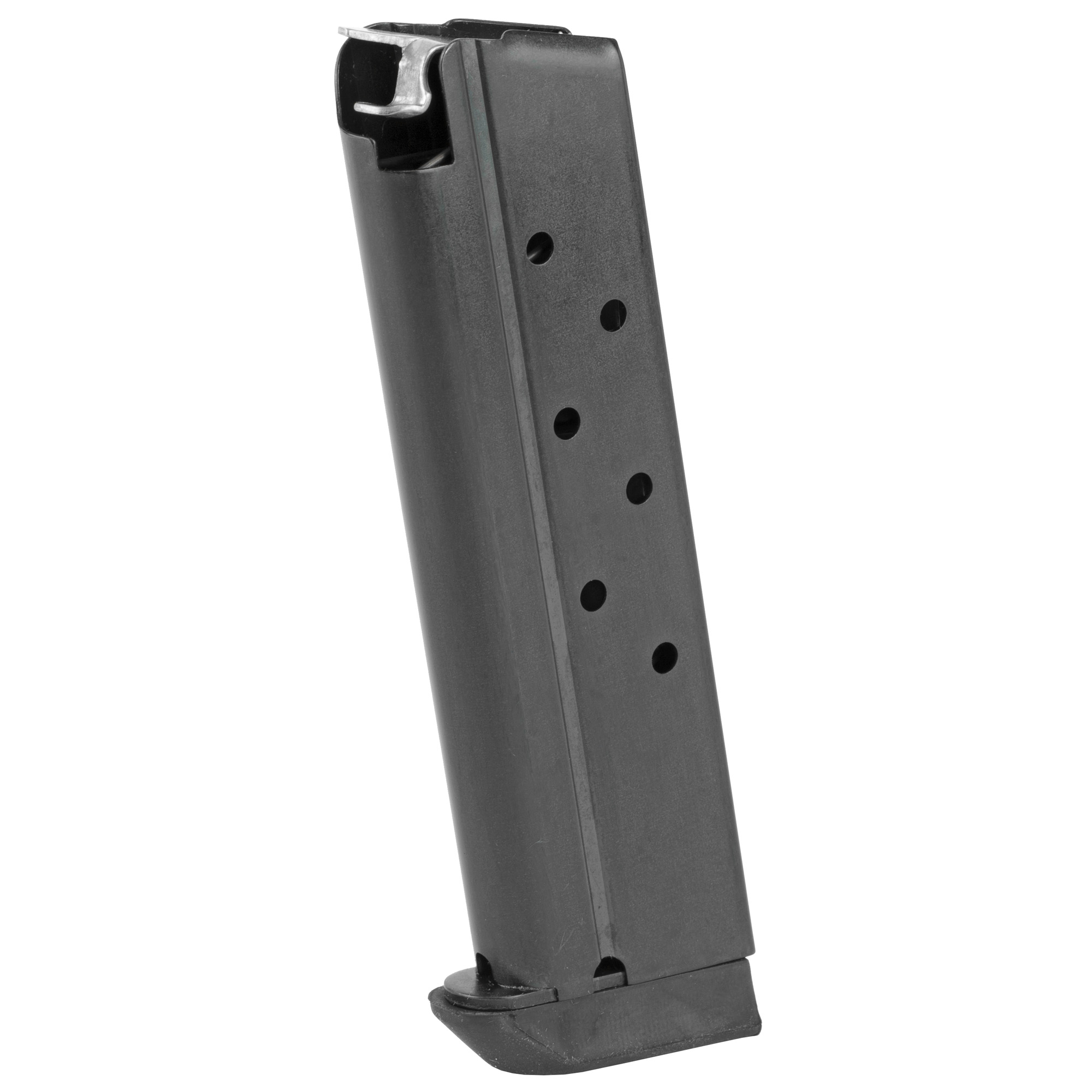 """The Rock Island Armory 1911 Full size Magazine is a standard factory replacement magazine. This magazine is for single stack 1911 models chambered in .40S&W and holds 8 rounds of ammunition. It is made of steel and is made to Armscor/Rock Island Armory specifications and tolerances"""" using the same manufacturing and materials as the original equipment magazines"""" ensuring perfect fit and operation."""