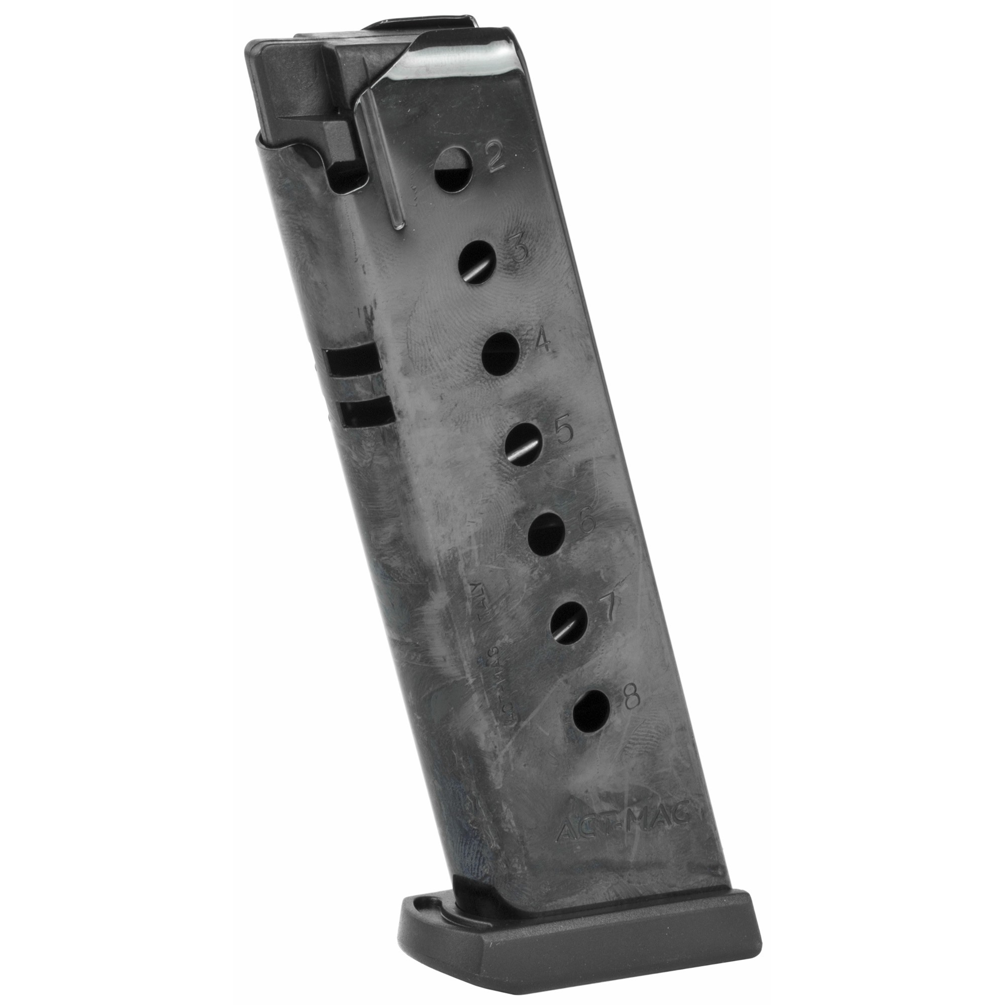 """This ACT-MAG for Sig Sauer P220 is a standard factory replacement magazine. This magazine has an 8 round capacity"""" is chambered in .45ACP and features a steel magazine body with a blued finish."""