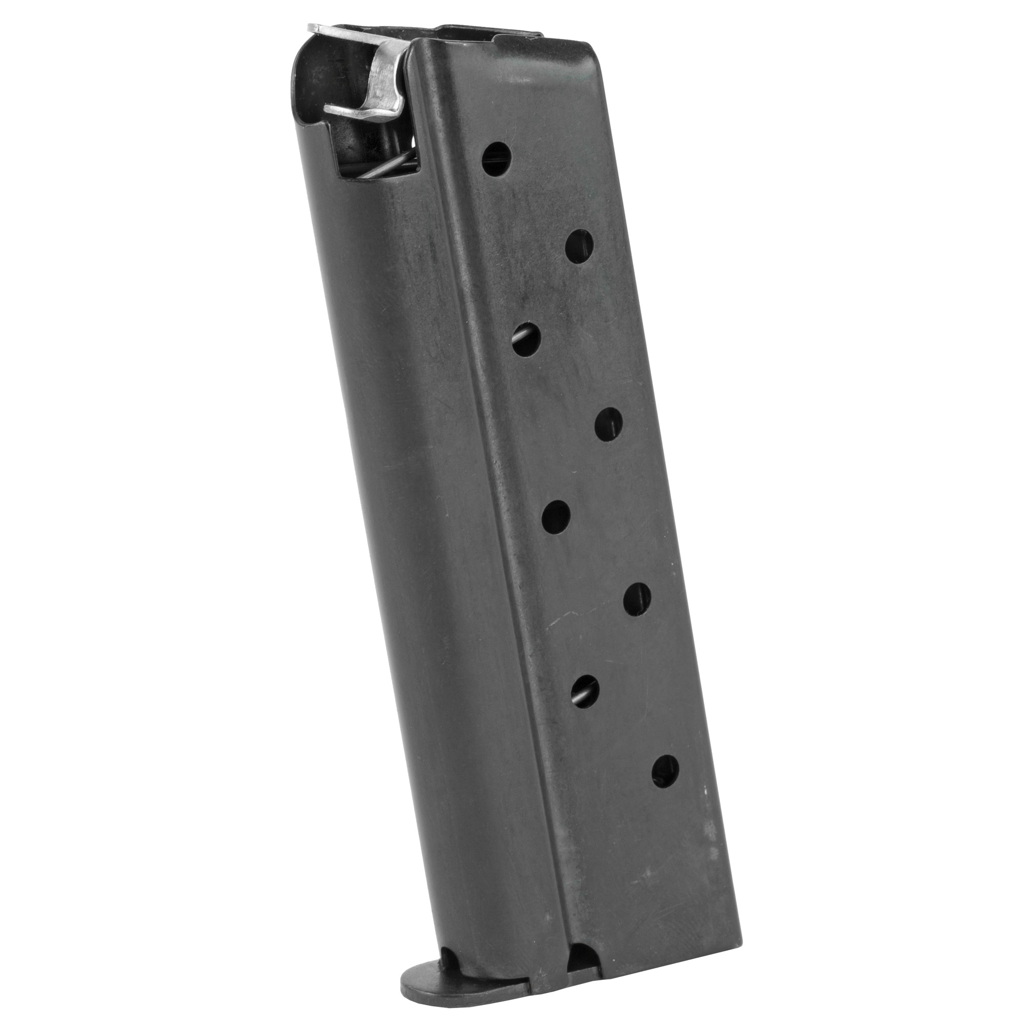 """The Rock Island Armory Compact Sized Magazine is a standard factory replacement magazine. This magazine is for Compact sized 1911 models chambered in 9mm and holds 8 rounds of ammunition. It is made of steel and is made to Armscor/Rock Island Armory specifications and tolerances"""" using the same manufacturing and materials as the original equipment magazines"""" ensuring perfect fit and operation."""