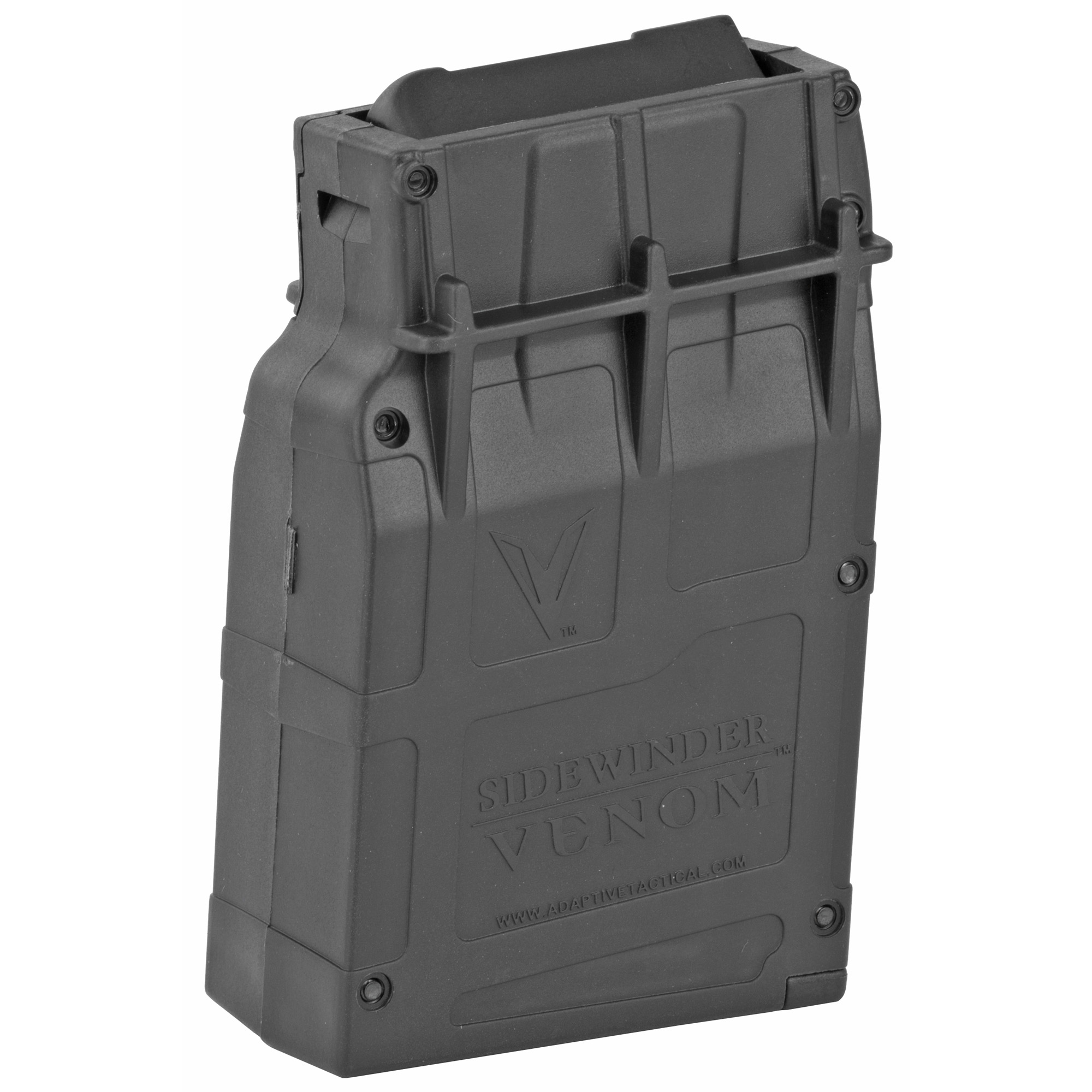 "This 5 round Box magazine is designed for use with the Sidewinder Venom magazine-fed shotgun system. Its lightning-fast reload action cycles 12 gauge rounds consistently and reliably for the ultimate in performance for defense"" range or competition."
