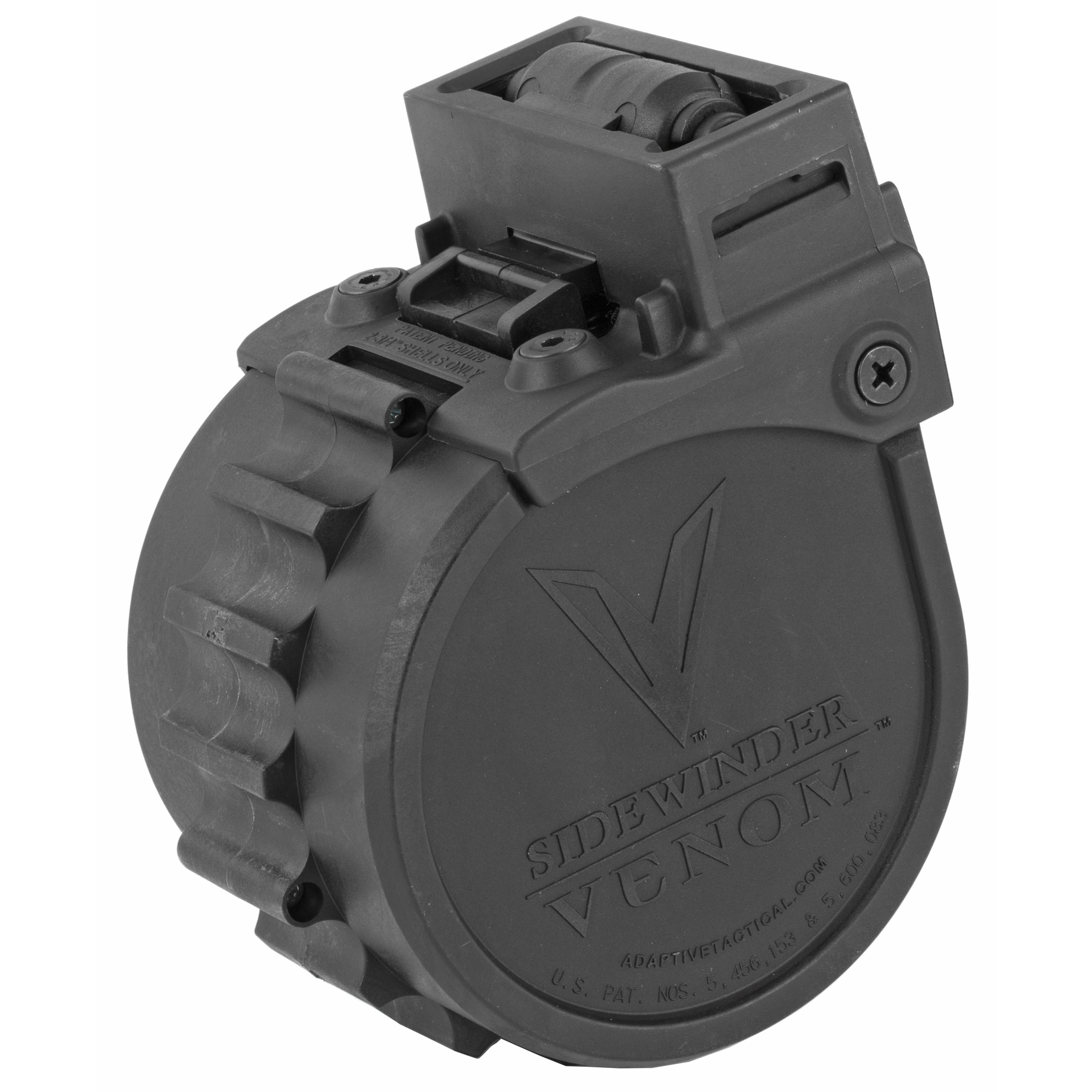 "This 10 round Rotary magazine is designed for use with the Sidewinder Venom magazine-fed shotgun system. Its lightning-fast reload action cycles 12 gauge rounds consistently and reliably for the ultimate in performance for defense"" range or competition."