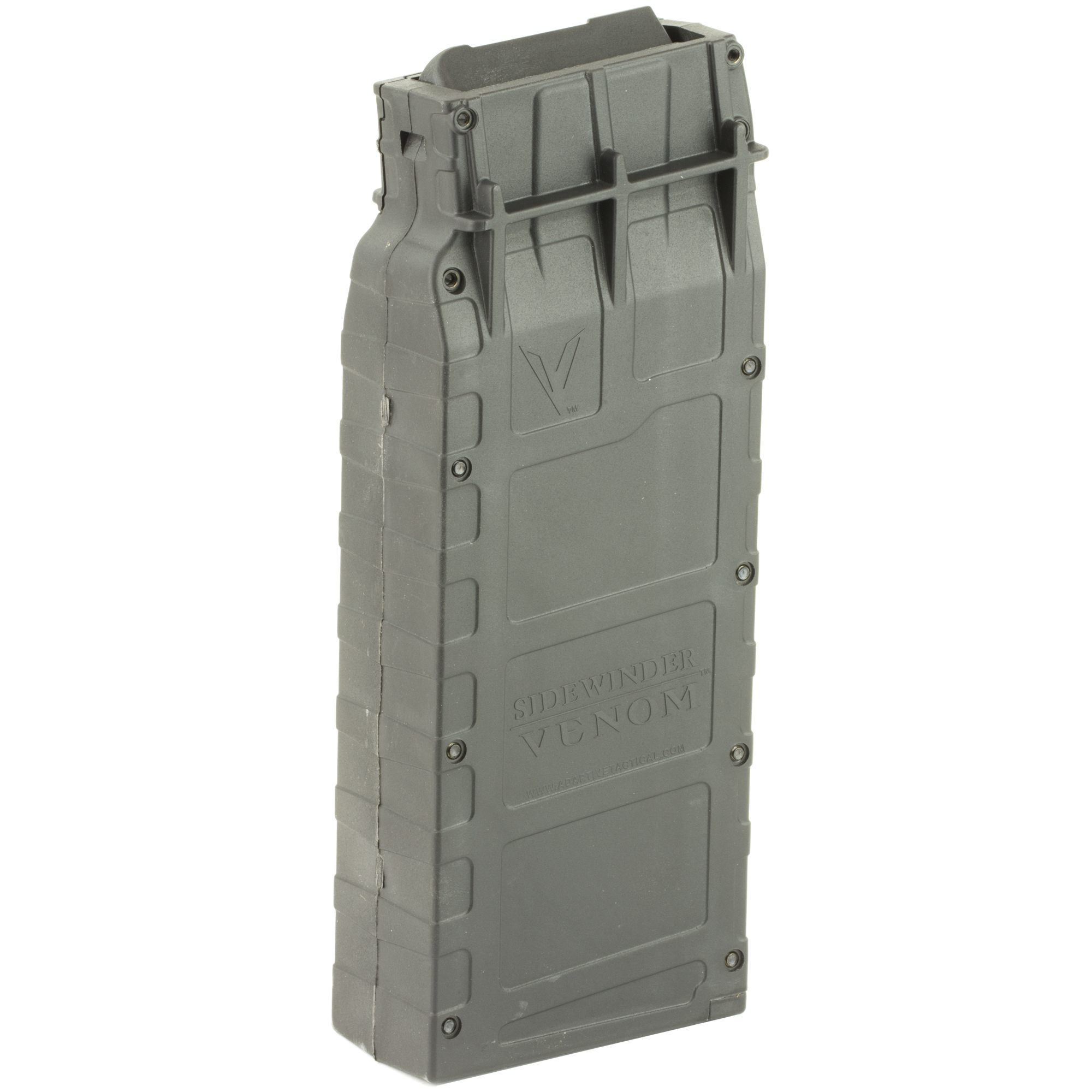 "This 10 round Box magazine is designed for use with Sidewinder Venom magazine-fed shotgun system. Its lightning-fast reload action cycles 12 gauge rounds consistently and reliably for the ultimate in performance for defense"" range or competition."