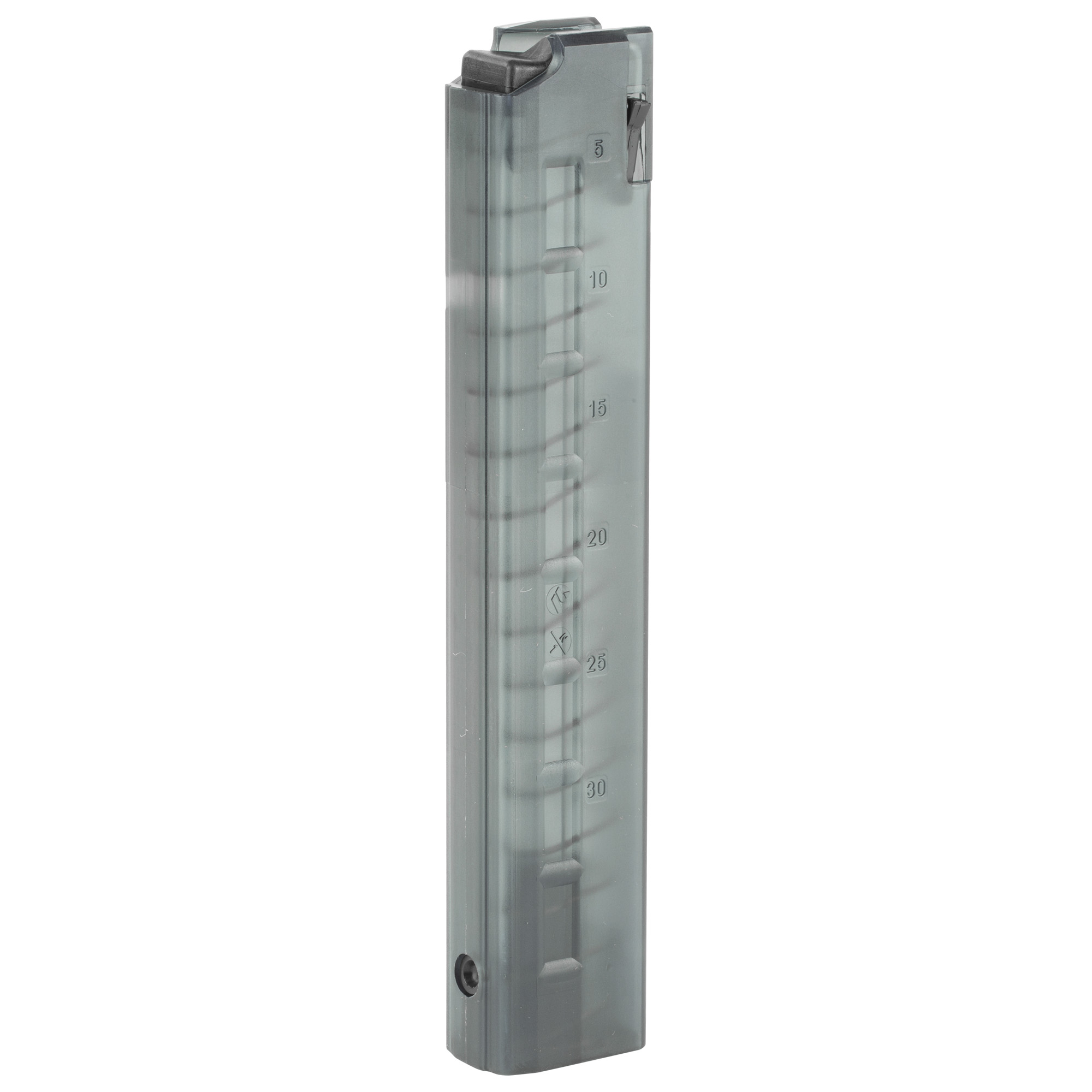 B&T's TP9 / APC9 / P26 / KH9 / GHM9 9mm replacement magazines are the same straight-body stick mags that ship with new firearms. These magazines have a translucent polymer body that lets you see how many rounds are left in the magazine.