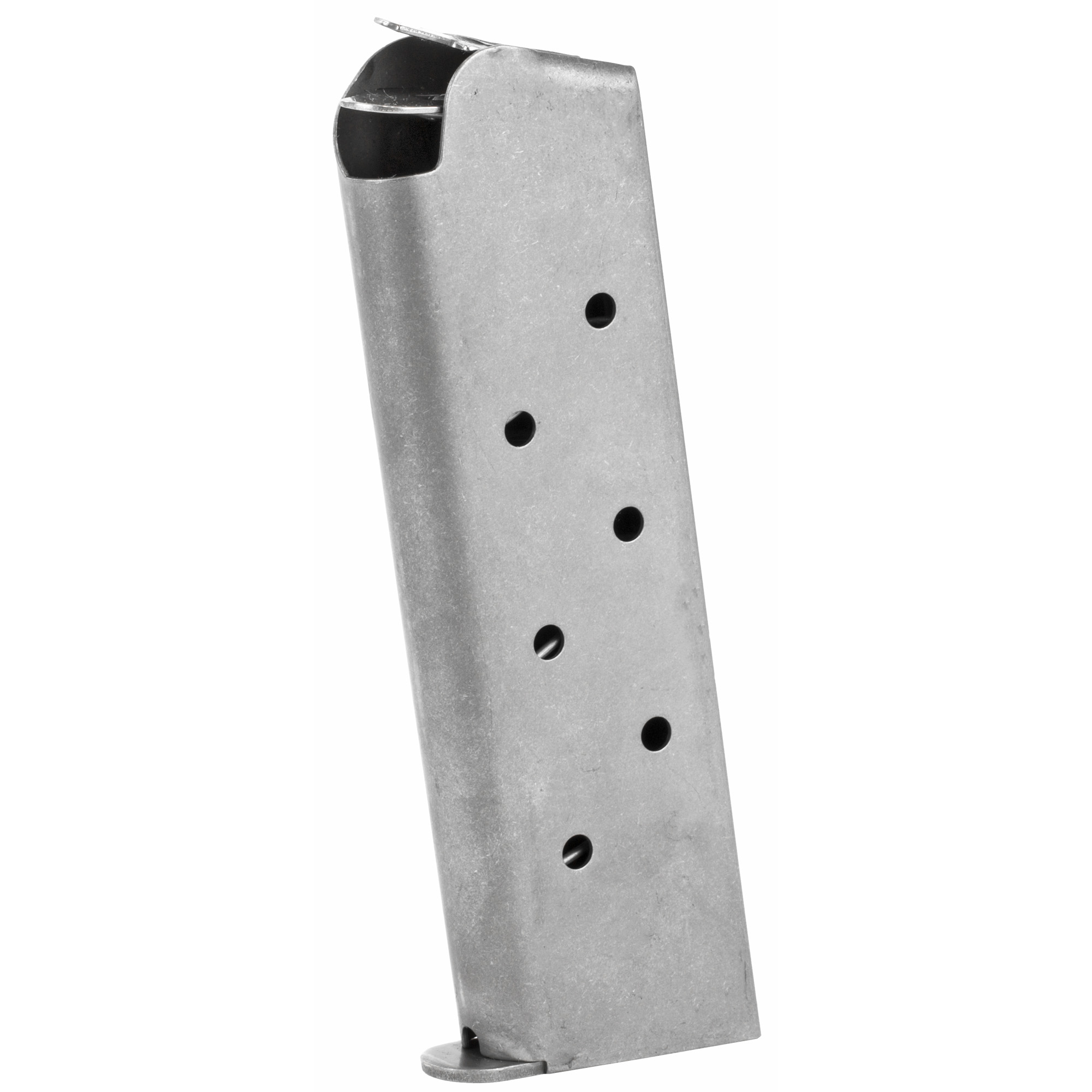 This is a Full-Size 1911 magazine in the traditional flush fit GI-style with all new materials and a follower designed for enhanced capacity (8 Rounds). It features a laser welded stainless steel magazine tube with welded base plate and is drilled for an optional polymer base pad (Base Pad and Screws Included).