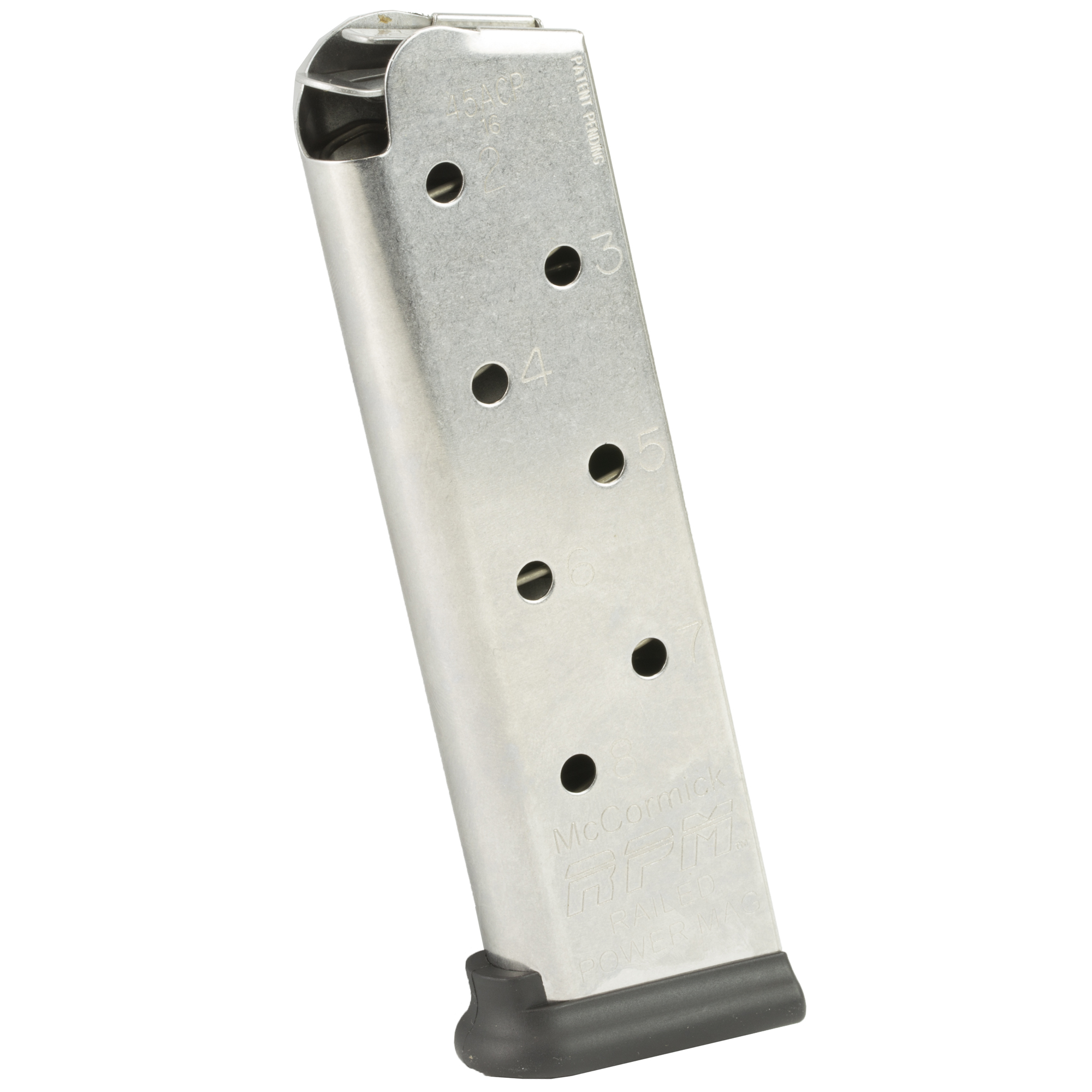 """CMC Products' RPM or Railed Power Mags are the STRONGEST 1911 MAGAZINES EVER MADE! The RPM design is the result of a relentless pursuit of excellence"""" maximizing reliability and durability under all conditions. The dual wall feed rails have revolutionized 1911 magazines. No more jams due to thin"""" warped and bent feed lips! The feed rails built into the RPM are AT LEAST TWICE AS STRONG as any traditional 1911 magazine feed lips and provide the SMOOTHEST FEEDING SURFACE."""
