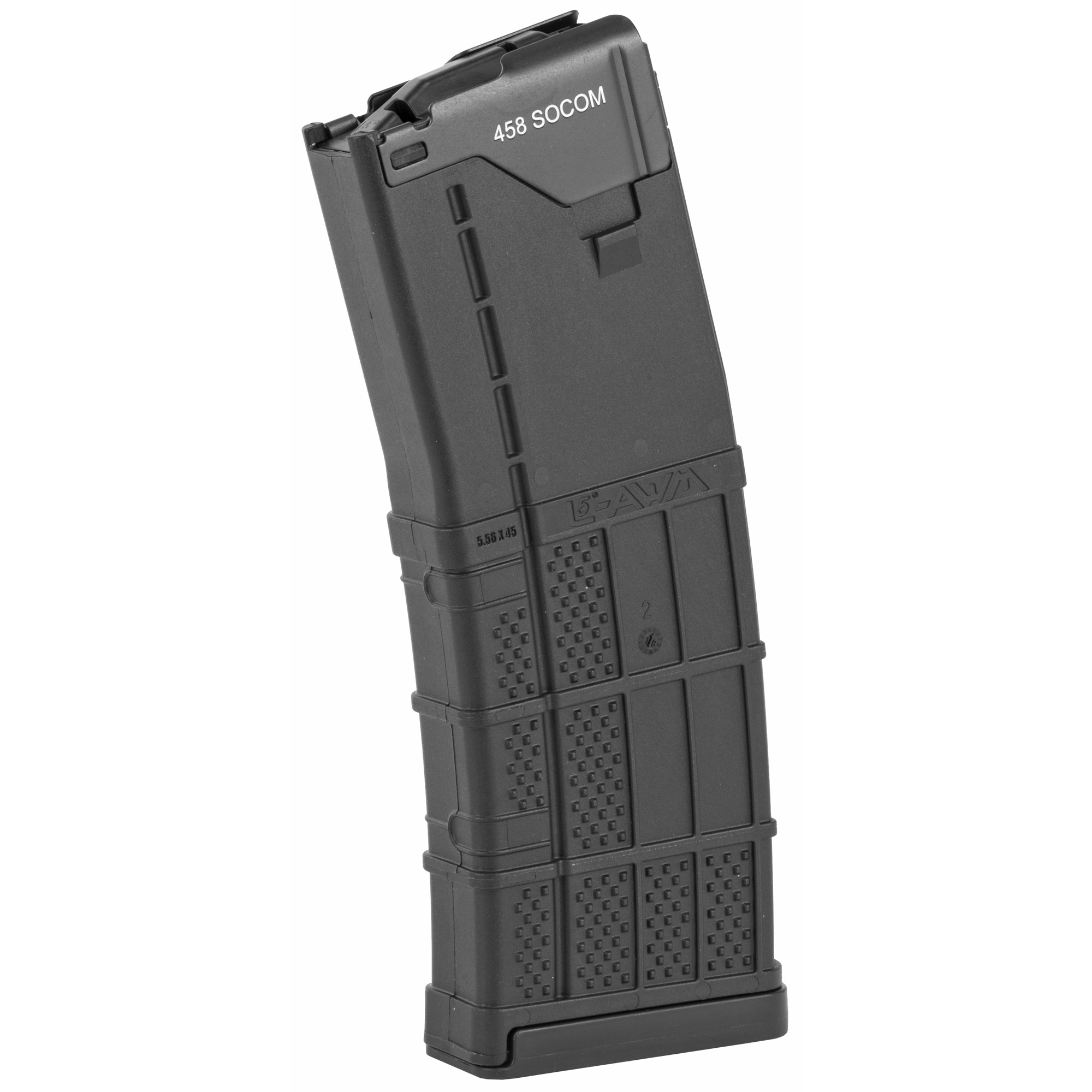 """After extensive testing of magazines for the 458 SOCOM"""" the Lancer L5 Advanced Warfighter Magazine was the top choice due to the polymer body and steel feed lips. The CMMG-modified Lancer L5-AWM takes this top of the line magazine and perfects it for the wide range of 458 SOCOM ammunition on the market by modifying the way the feed lips hold the ammo. The feed lips are not machined or weakened. (Laser Engraved 458 SOCOM)"""