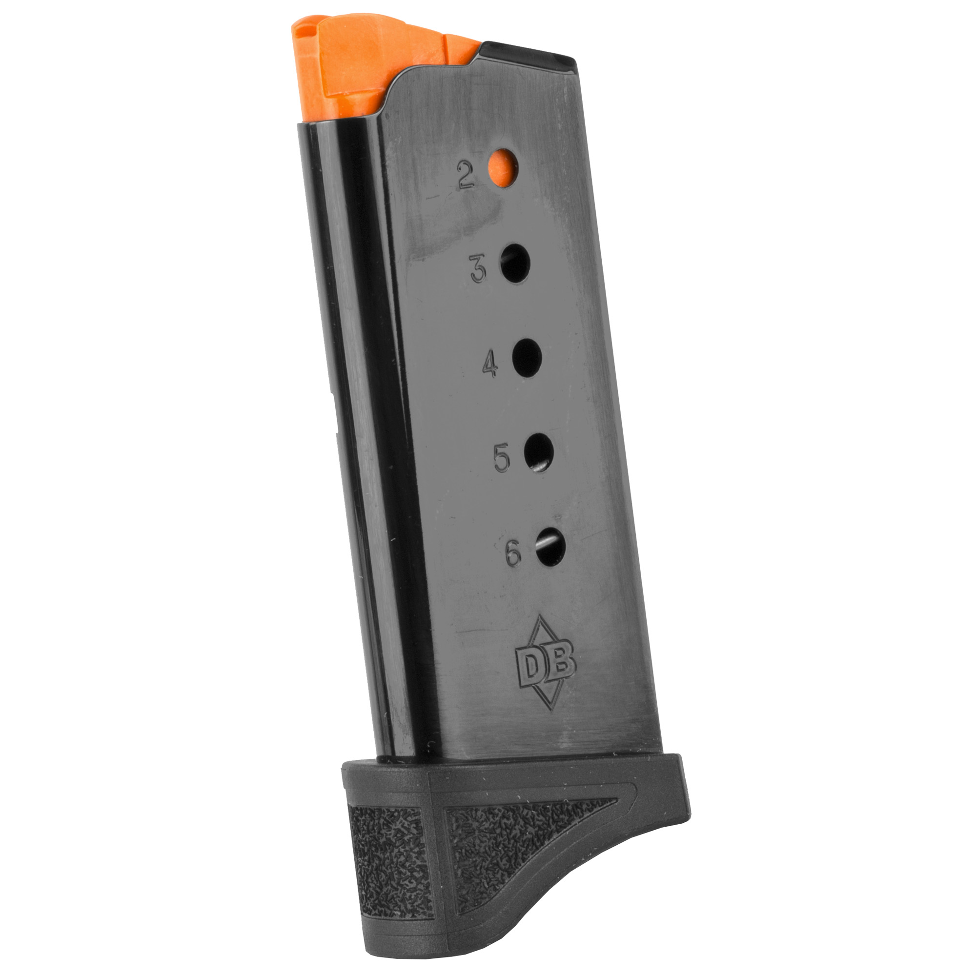 This magazine fits the DB9 Gen 4 and holds 6 rounds of 9mm ammunition. It features a metal alloy body and is made using the same manufacturing and materials as the original equipment magazines