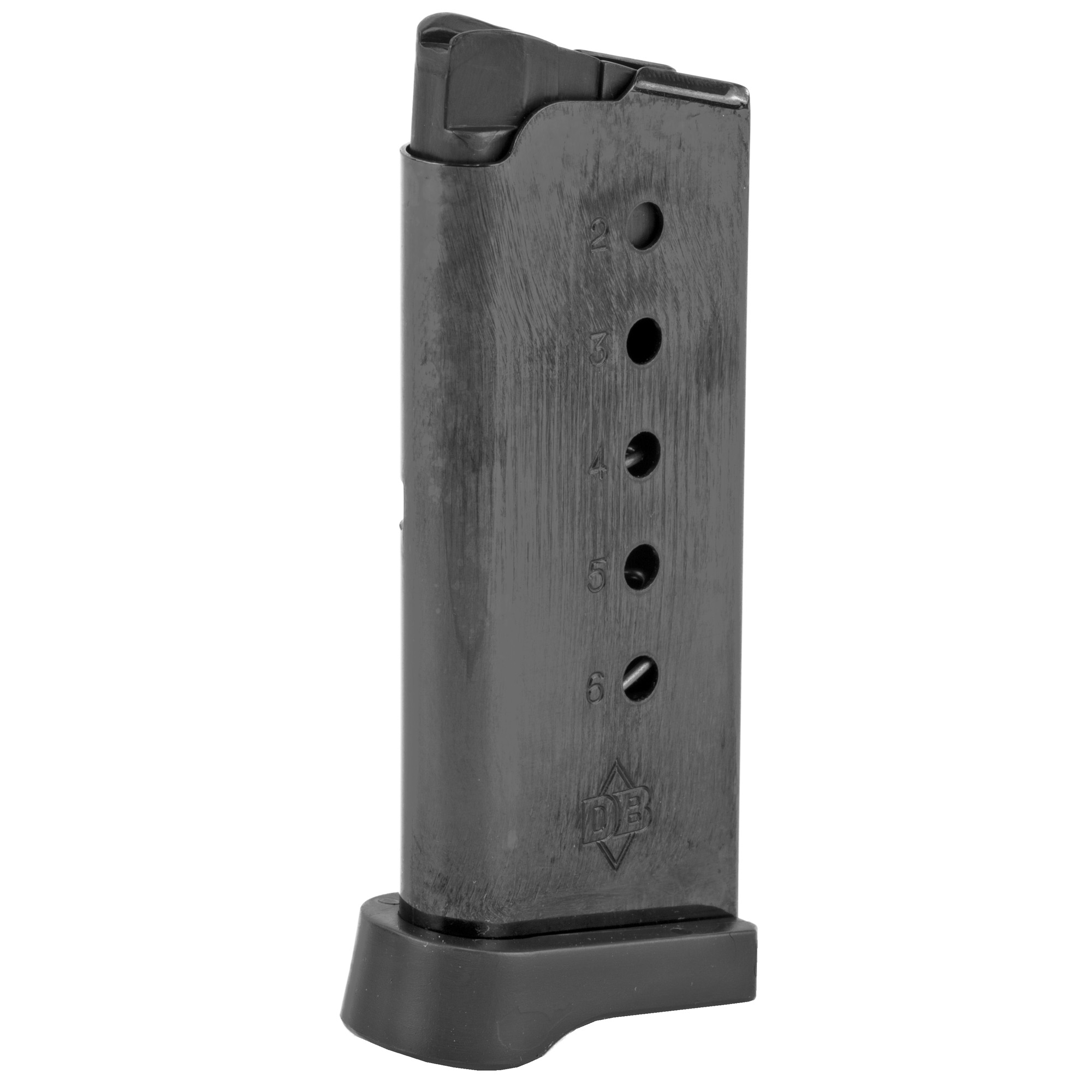 This magazine fits DB9 models and holds 6 rounds of 9mm ammunition. It features a metal alloy body and is made using the same manufacturing and materials as the original equipment magazines