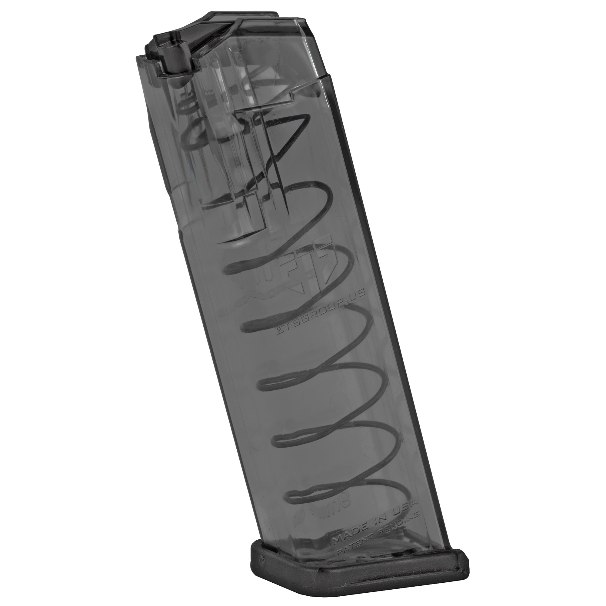 "This ETS magazine features extreme impact resistance"" creep resistant feed lips and a translucent body that allows you to see your ammo count and type. It is compatible with Glock and aftermarket floorplates."
