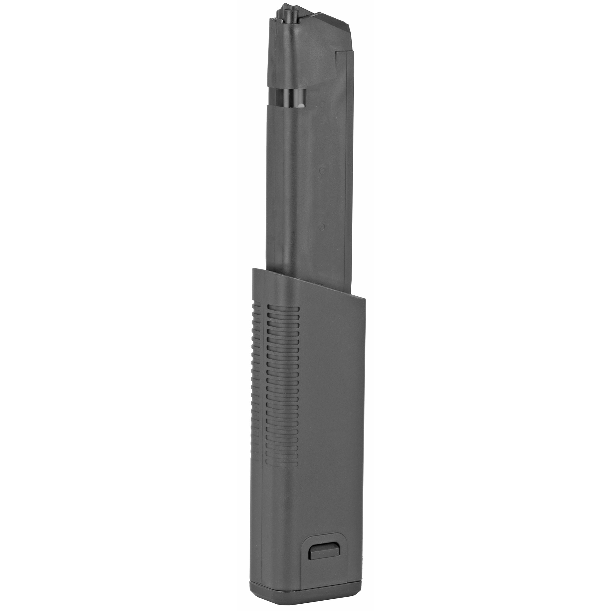 """The KRISS Mag-Ex2 extended magazine is a fully assembled Mag-Ex Kit 2 with a factory standard Glock Magazine. The Mag-Ex 2 is the perfect match of reliable feeding"""" toughness"""" and aesthetics for the KRISS Vector. The Mag-Ex 2 is available in 9mm and 10mm; for an overall capacity of 40 rounds of 9mm"""" and 33 rounds of 10mm for your KRISS Vector"""" Glock handgun"""" and your Glock magazine-compatible pistol caliber carbine."""