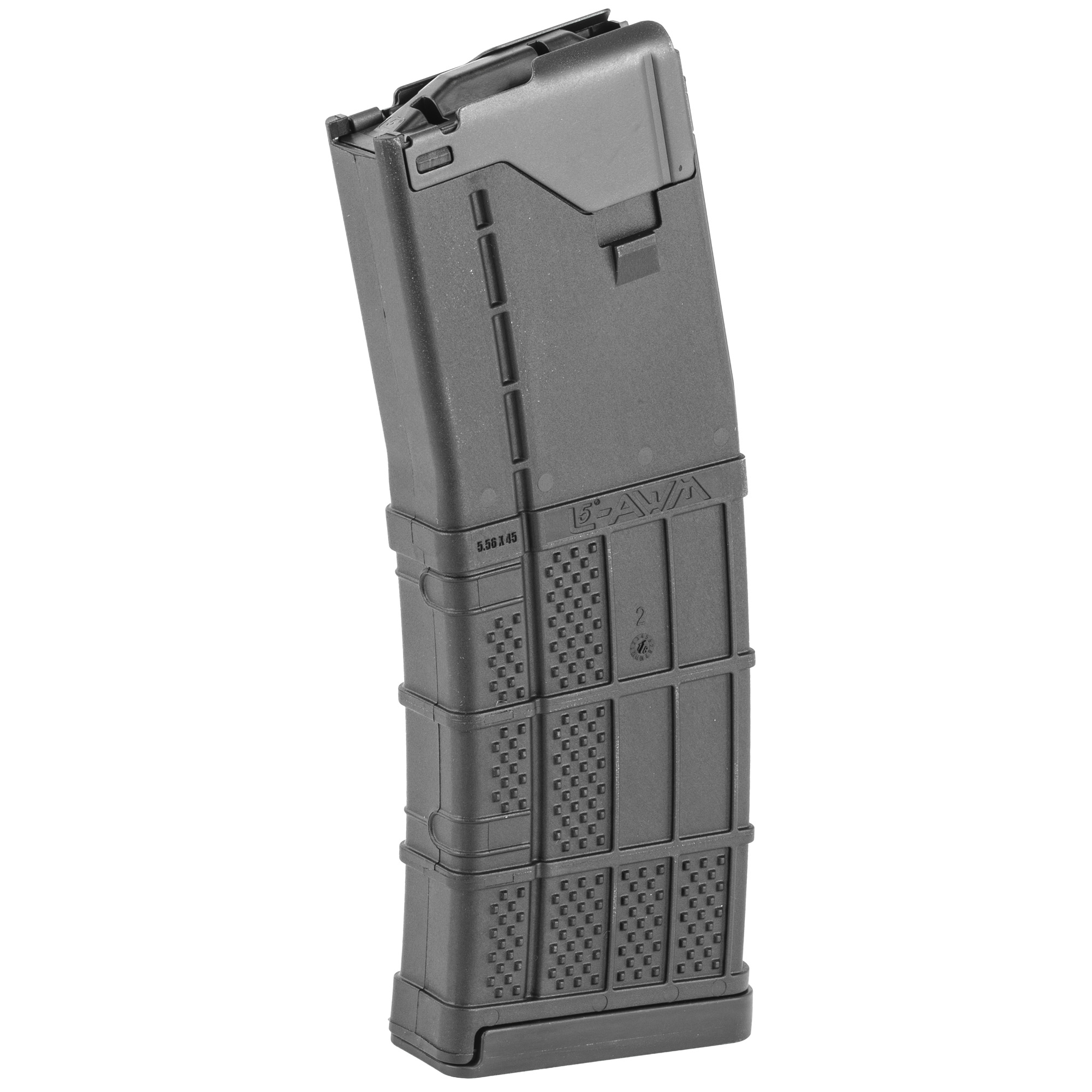 """Lancer set out to engineer a better magazine; one with the reliability of steel"""" durability of polymer and weight of aluminum - the L5AWM. The magazine design includes a one-piece"""" wrap-around steel feed lip assembly and an aggressive surface texture to create the ultimate hybrid magazine tough enough for military"""" LE and commercial use. The internal geometry of the Advanced Warfighter Magazine is a constant curvature utilizing a non-tilting follower for reliable feeding. The body and component materials are corrosion and chemical resistant"""" passing military chemical testing."""