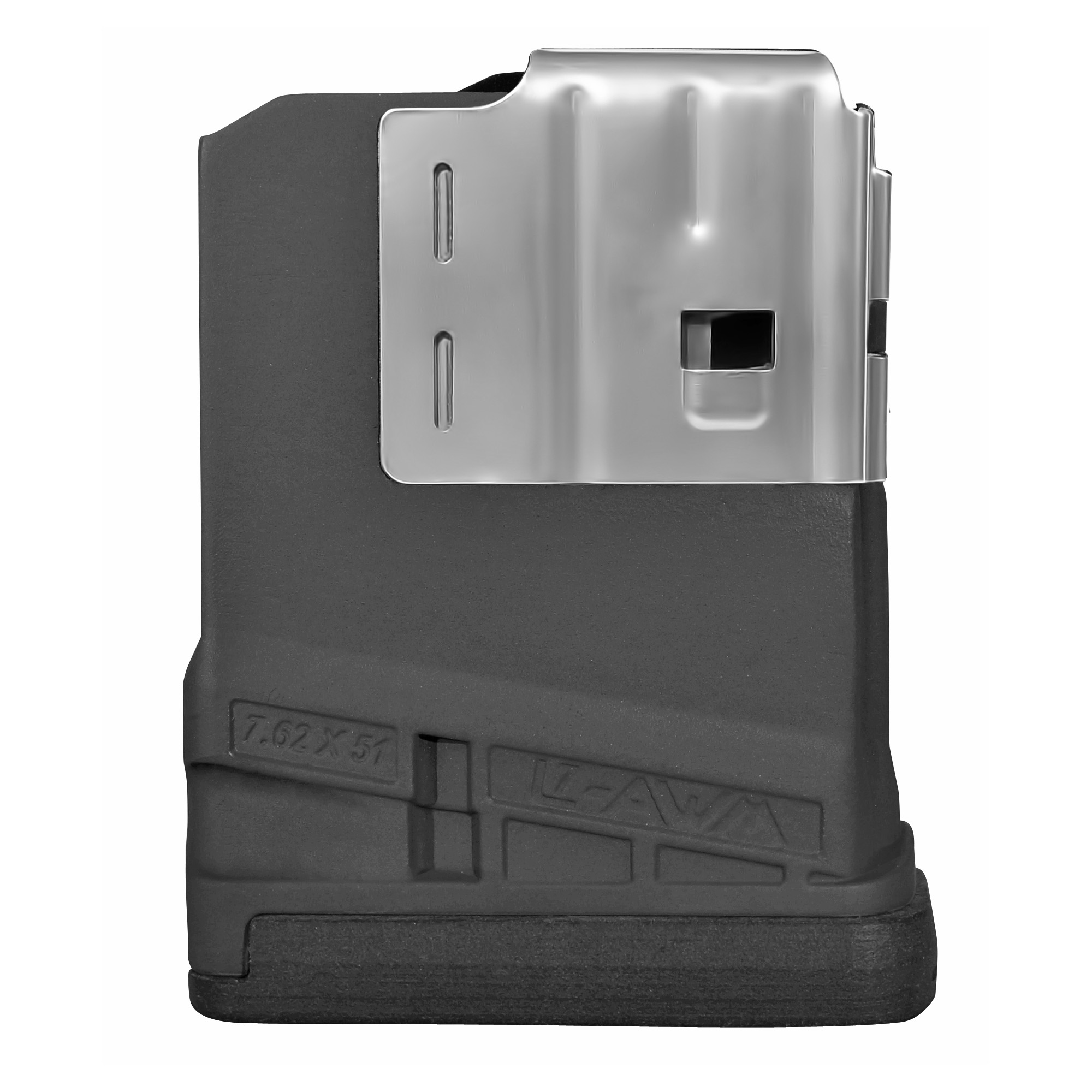 """The L7AWM is a lightweight magazine with an integrated front guard and welded steel feed lip which provides maximum stiffness and reliability while preventing dimpling to the front of the magazine. A switchable drain in the floor plate lock comes standard on all L7s"""" allowing users to configure the magazine for either water-borne or extreme dust conditions. The L7AWM is designed to work in multiple weapon systems - SR25"""" DPMS 308"""" SIG 716"""" LM308"""" etc."""