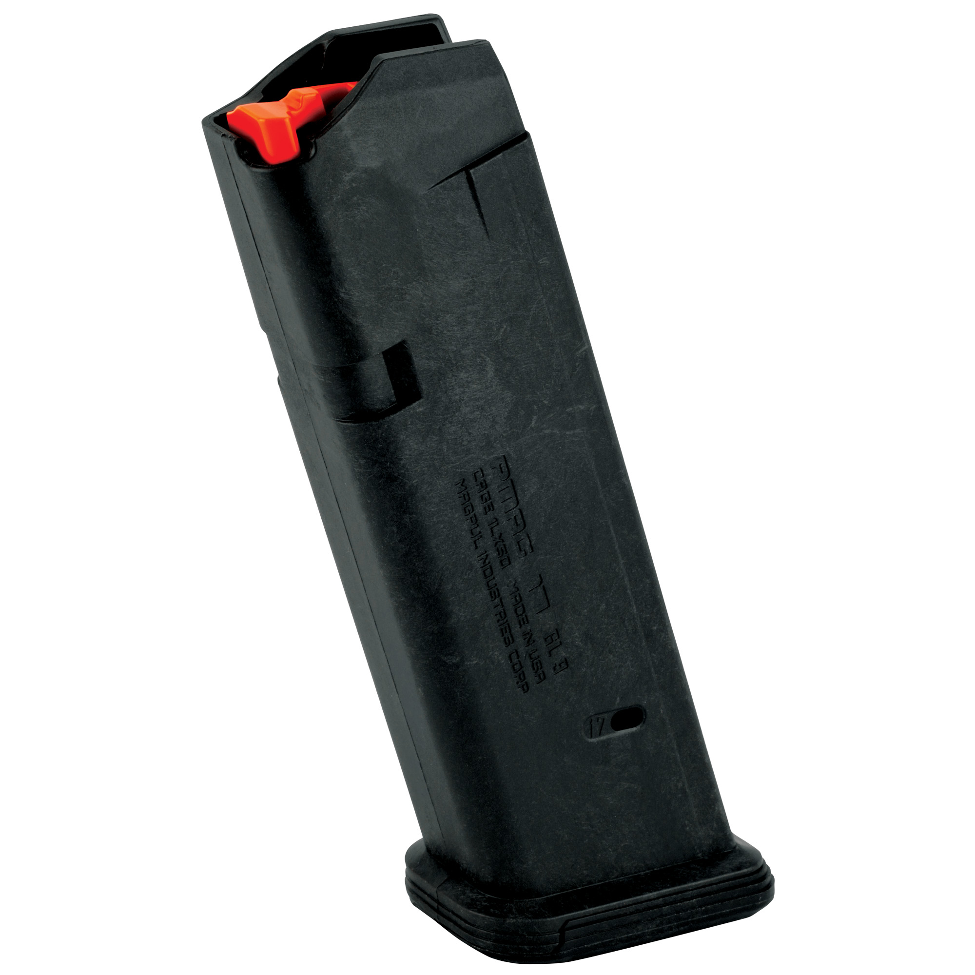 "The PMAG 17 GL9 is a 17-round Glock 9mm handgun magazine featuring a new proprietary all-polymer construction for flawless reliability and durability over thousands of rounds. High visibility controlled-tilt follower"" stainless steel spring"" easily removable floorplate for cleaning"" paint pen dot matrix for mag marking"" ridged floorplate edges for better grip"" and 17rd indicator windows. Drops free loaded or unloaded. All with the same boring reliability you expect from an OEM magazine."