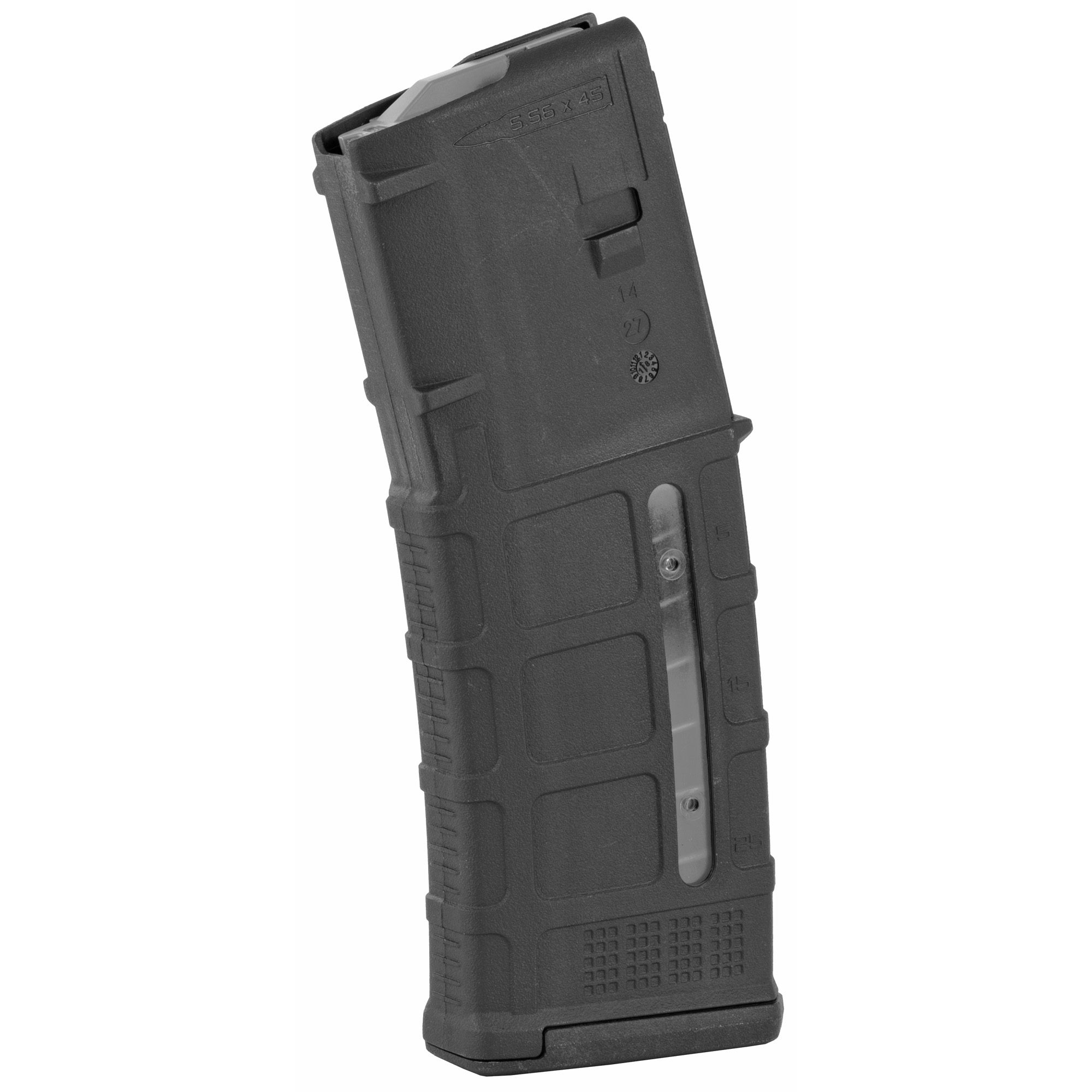 """The next-generation PMAG 30 GEN M3 Window is a 30-round 5.56x45 NATO (.223 Remington) polymer magazine for AR15/M4 compatible weapons that features transparent windows to allow rapid visual identification of approximate number of rounds remaining. Along with expanded feature set and compatibility"""" the GEN M3 Window incorporates new material technology and manufacturing processes for enhanced strength"""" durability"""" and reliability to exceed rigorous military performance specifications. While the GEN M3 is optimized for Colt-spec AR15/M4 platforms"""" modified internal and external geometry also permits operation with a range of additional weapons such as the HK(R) 416/MR556A1/M27 IAR"""" British SA-80"""" FN(R) SCAR(TM) MK 16/16S"""" and others."""