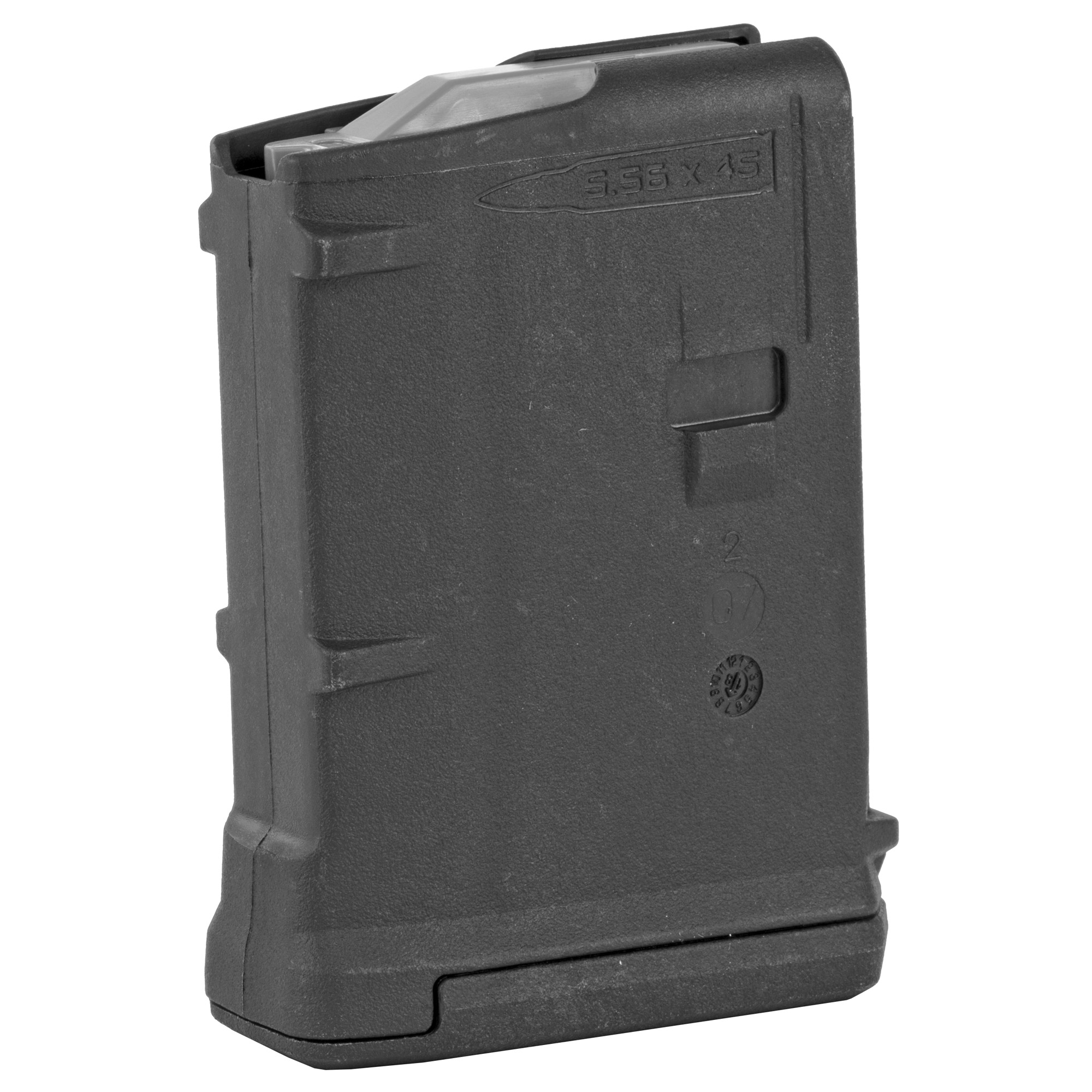 """The PMAG 10 GEN M3 is a 10-round 5.56x45 NATO (.223 Remington) polymer magazine for AR15/M4 compatible weapons. Incorporating new material technology and manufacturing processes for enhanced strength"""" durability"""" and reliability"""" the PMAG 10 provides next-generation performance for those needing lower profile magazines. While the GEN M3 is optimized for Colt-spec AR15/M4 platforms"""" modified internal and external geometry also permits operation with a range of additional weapons such as the HK(R) 416/MR556A1/M27 IAR"""" British SA-80"""" FN(R) SCAR(TM) MK 16/16S"""" and others."""