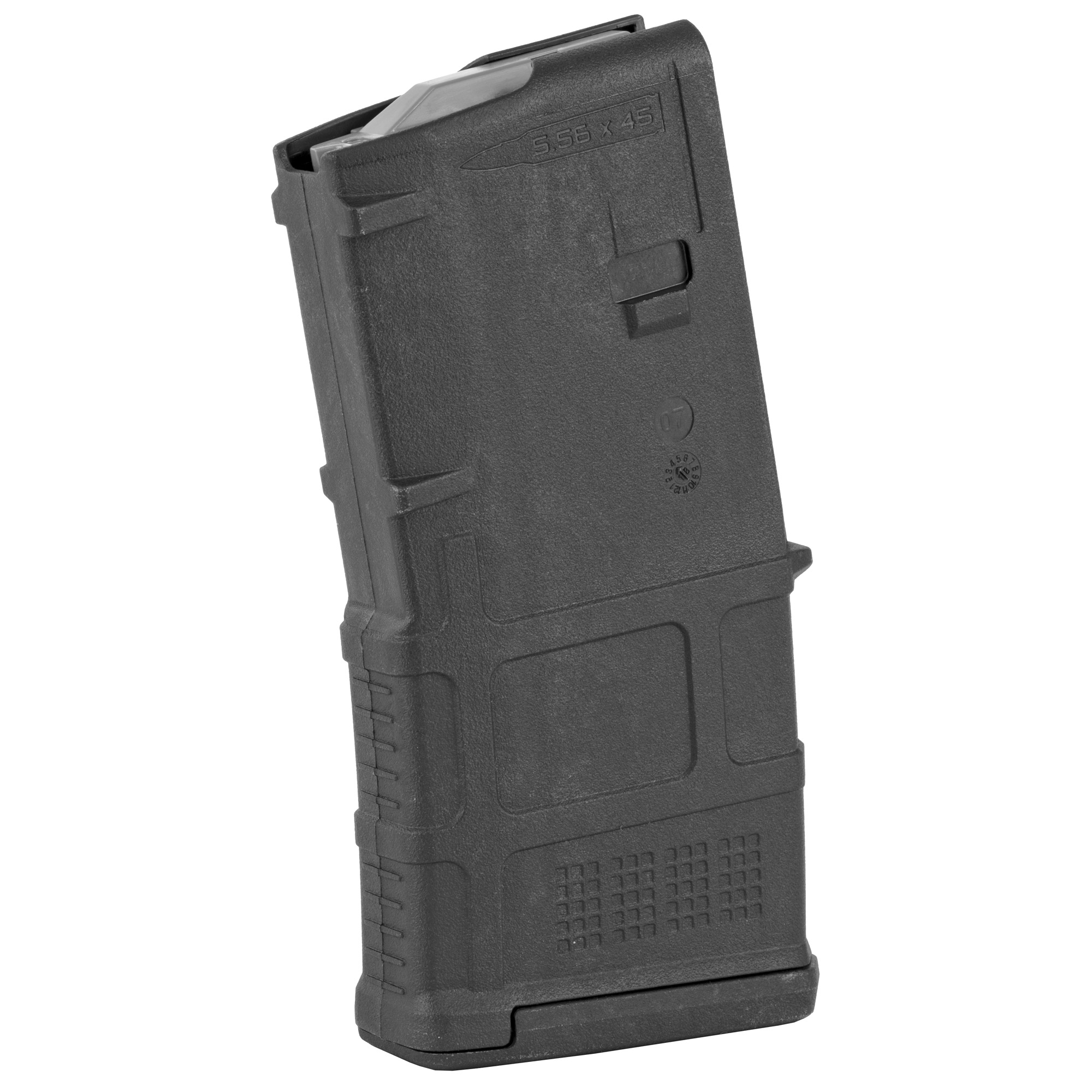 """The next-generation PMAG 20 GEN M3 is a 20-round 5.56x45 NATO (.223 Remington) polymer magazine for AR15/M4 compatible weapons. Along with expanded feature set and compatibility"""" the GEN M3 incorporates new material technology and manufacturing processes for enhanced strength"""" durability"""" and reliability to exceed rigorous military performance specifications. While the GEN M3 is optimized for Colt-spec AR15/M4 platforms"""" modified internal and external geometry also permits operation with a range of additional weapons such as the HK(R) 416/MR556A1/M27 IAR"""" British SA-80"""" FN(R) SCAR(TM) MK 16/16S"""" and others."""