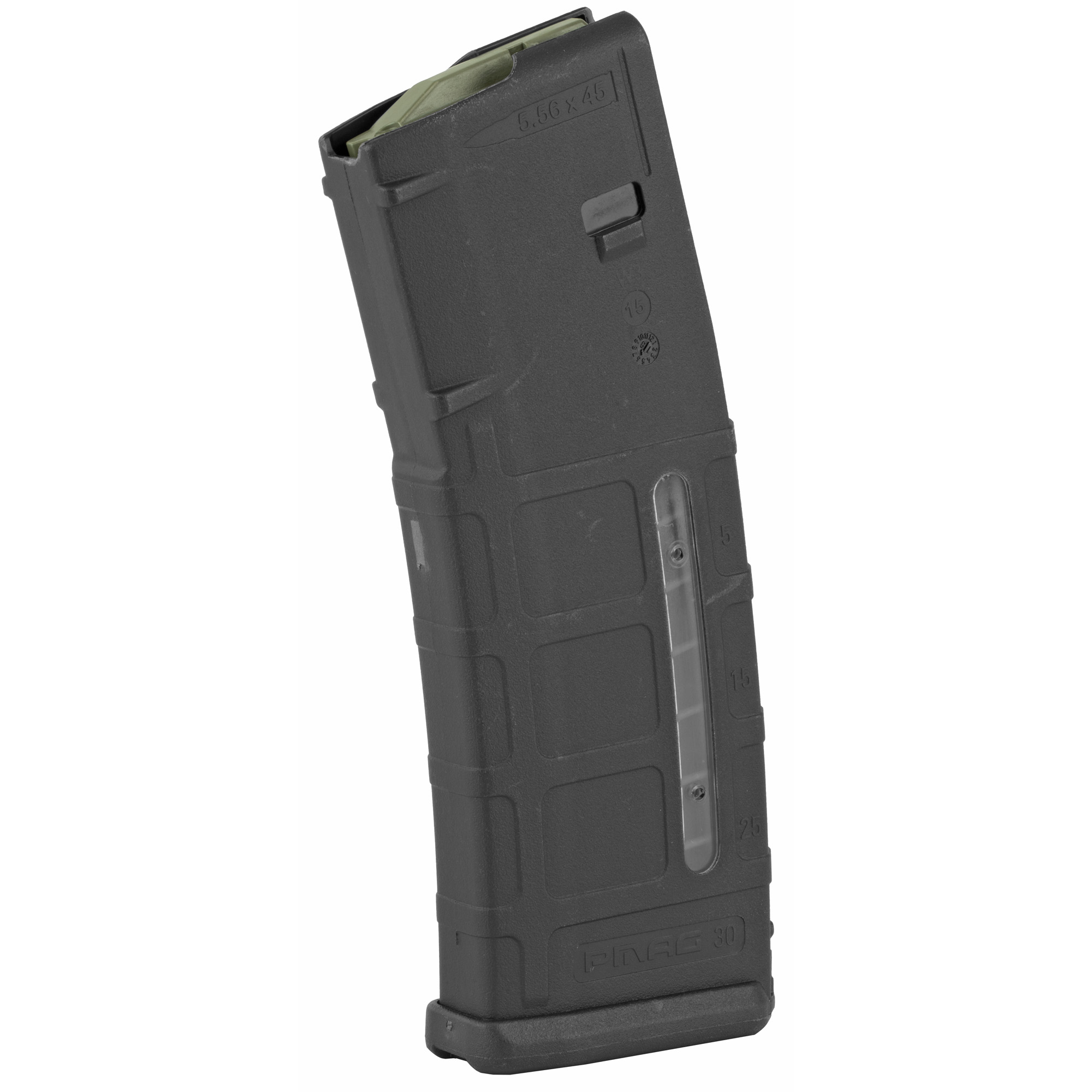 """The PMAG 30 AR/M4 GEN M2 MOE Window is a 30-round 5.56x45 NATO (.223 Remington) AR15/M4 compatible magazine that offers a cost competitive upgrade from the aluminum USGI. It features an impact resistant polymer construction"""" easy to disassemble design with a flared floorplate for positive magazine extraction"""" resilient stainless steel spring for corrosion resistance"""" and an anti-tilt"""" self-lubricating follower for increased reliability."""