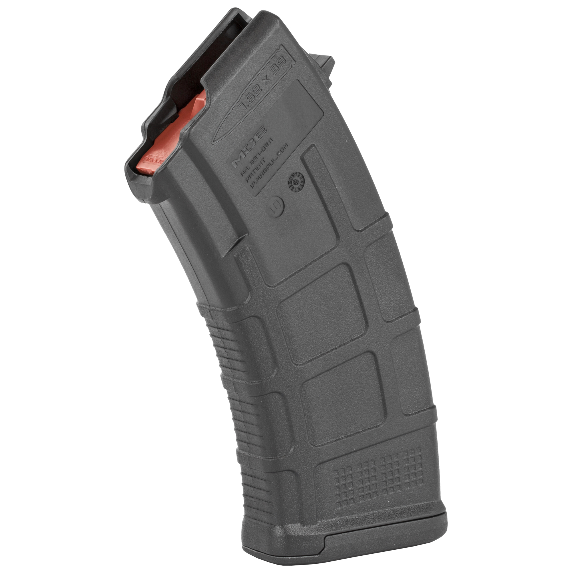 """The PMAG 20 AK/AKM MOE is an inexpensive"""" lightweight"""" high reliability 20-round polymer magazine designed for Kalashnikov pattern rifles in 7.62x39mm (AK-47"""" AKM"""" AKS"""" SIG556R"""" and others.) It features a removable floorplate"""" constant curve geometry"""" and a high-reliability/low-friction follower for the affordable performance you expect from a MOE PMAG. Made in U.S.A. Magazine counts as three US compliance parts for 922(r)."""