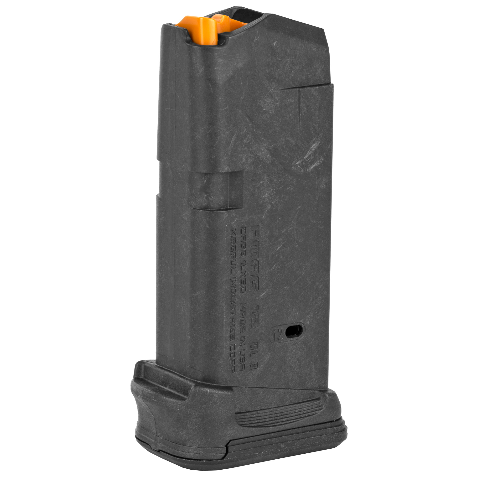 """Adding capacity and control with a minimal footprint"""" the PMAG 12 GL9 is a 12-round magazine for the Glock 26. Building on the proven PMAG 17 GL9 and PMAG 15 GL9"""" subcompact Glock users gain two more rounds of capacity while adding a built-in finger groove for a full grip. Featuring grasping grooves for easy retrieval and an easily removable floor plate with paint-pen marking matrix"""" the PMAG 12 GL9 brings duty capacity to subcompact convenience."""