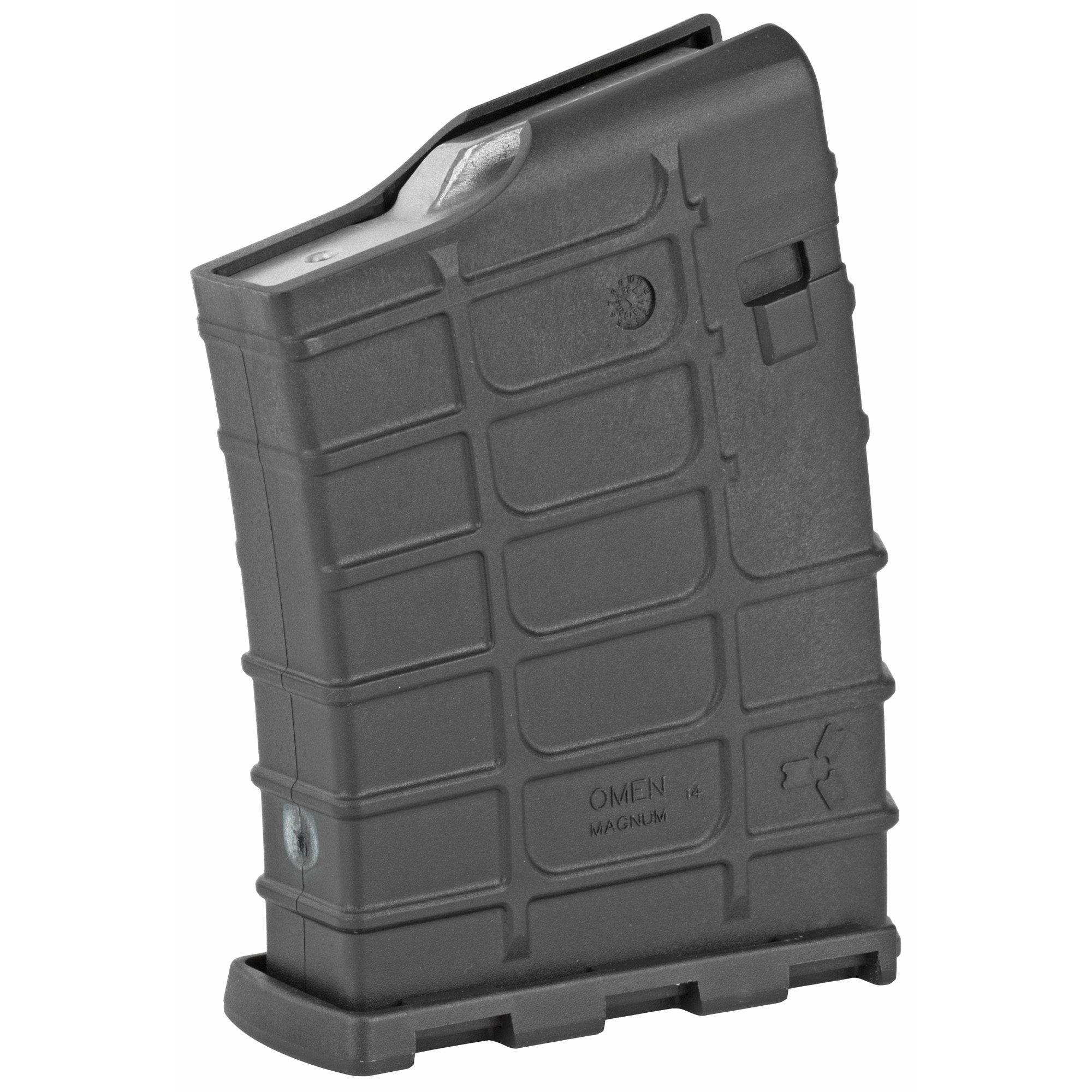 """This rugged polymer magazine was engineered from the ground up based on belted magnums. The magazine features an anti-tilt follower"""" 14 round capacity and stainless steel spring. The magazine disassembles easily for cleaning. Weighs 7 ounces unloaded. Cartridges that can be used: .300 Winchester Magnum"""" 7mm Remington Magnum and .338 Winchester Magnum. Magazine can accommodate a cartridge up to 3.50"""" overall cartridge length."""