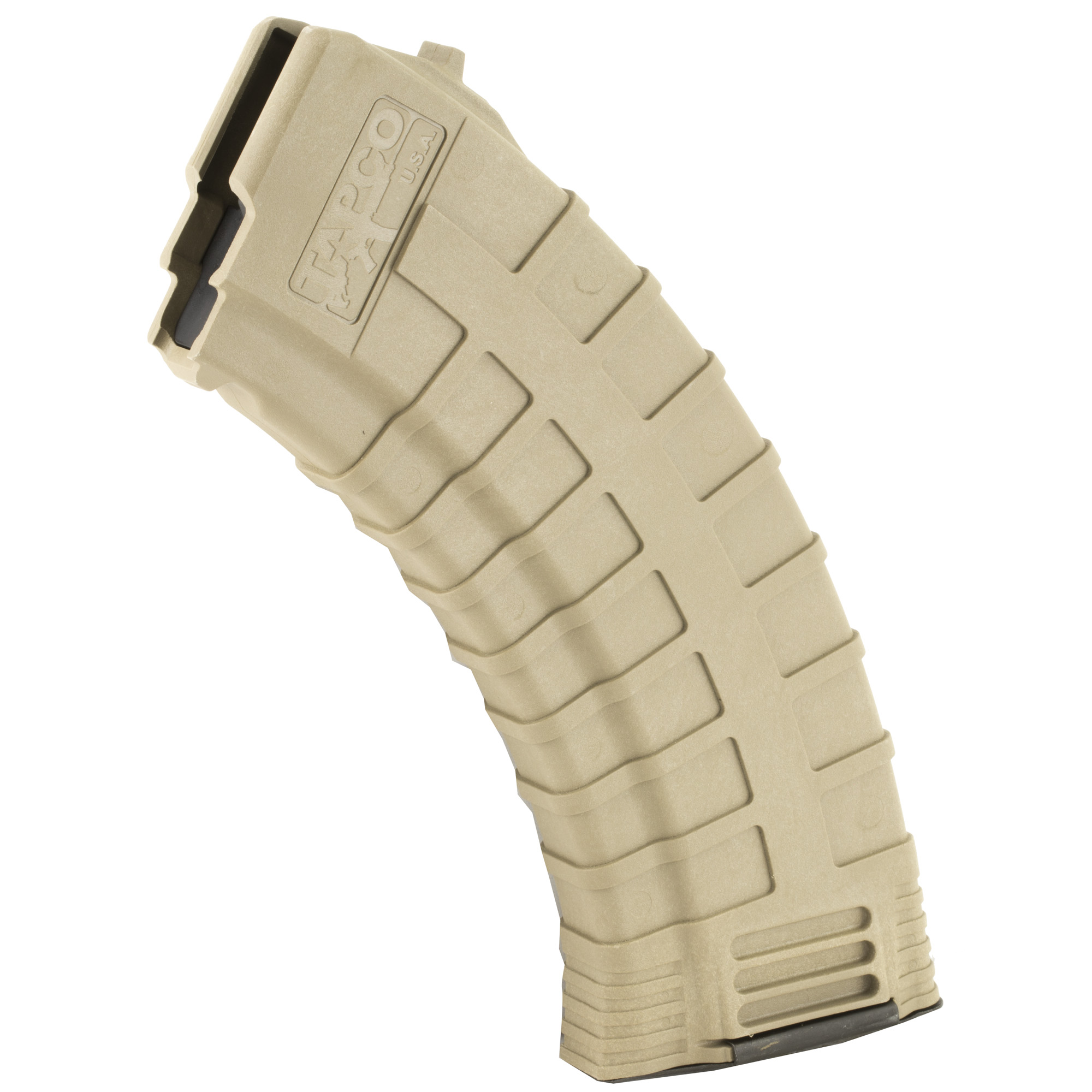 "The best two words to describe Tapco's AK 30rd magazine: ""rugged"" and ""reliable."" The reinforced composite material prevents corrosion while the heavy duty spring and anti-tilt follower ensure that every round will feed perfectly. Fits the AK-47 using 7.62x39mm ammunition. When your Kalashnikov needs a magazine that can handle a beating"" no questions asked"" the Tapco 30rd AK Magazine is the only logical choice."
