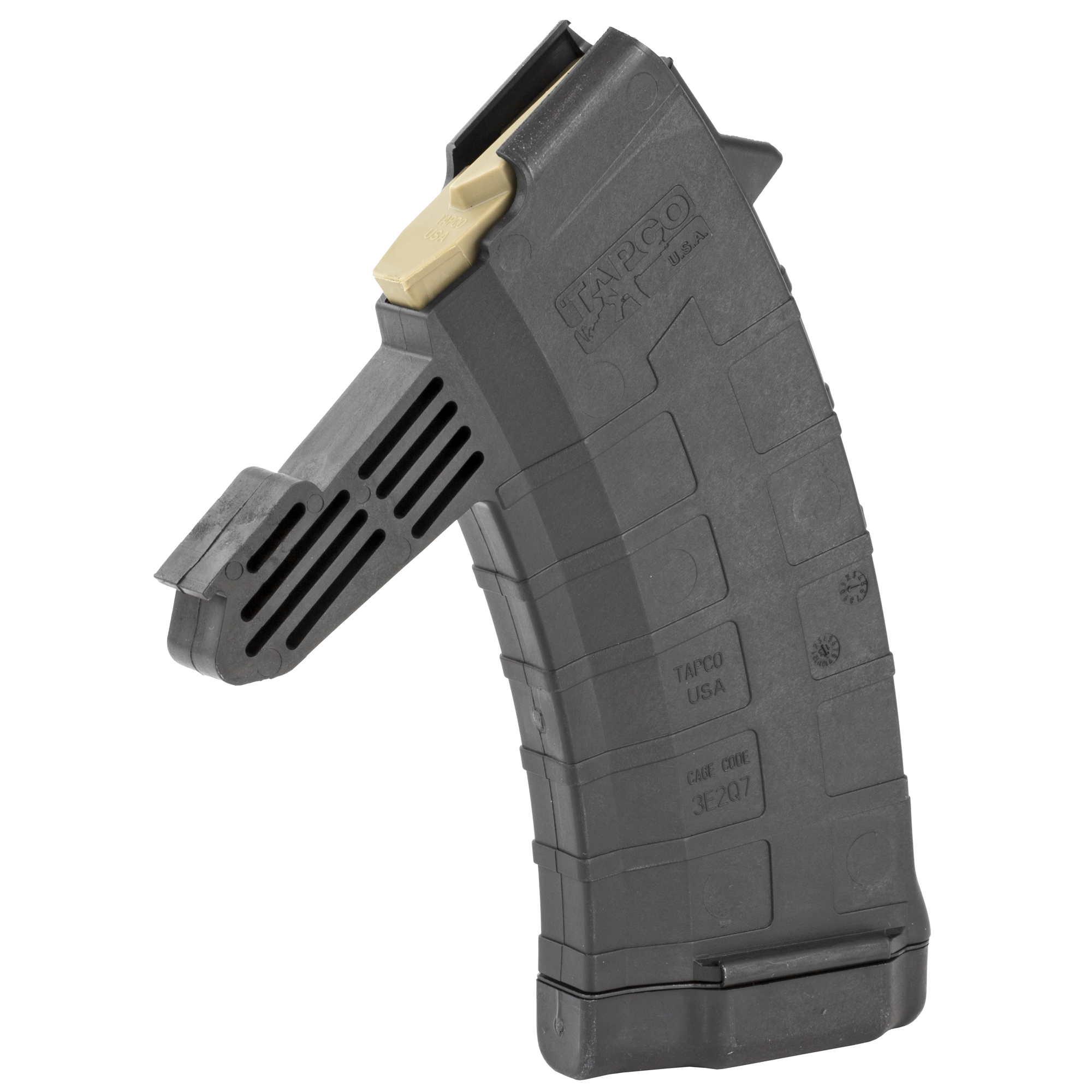 "Tapco designed the SKS Detachable Magazine with serious shooters in mind. The mag body"" made of high strength composite"" has horizontal grooves cut into it for an enhanced gripping surface. Tapco used the highest quality interior components and incorporated a metal floorplate so you can expect maximum strength from this magazine. That"" plus the fact that this mag is made in the U.S.A. so it counts for three compliance parts."