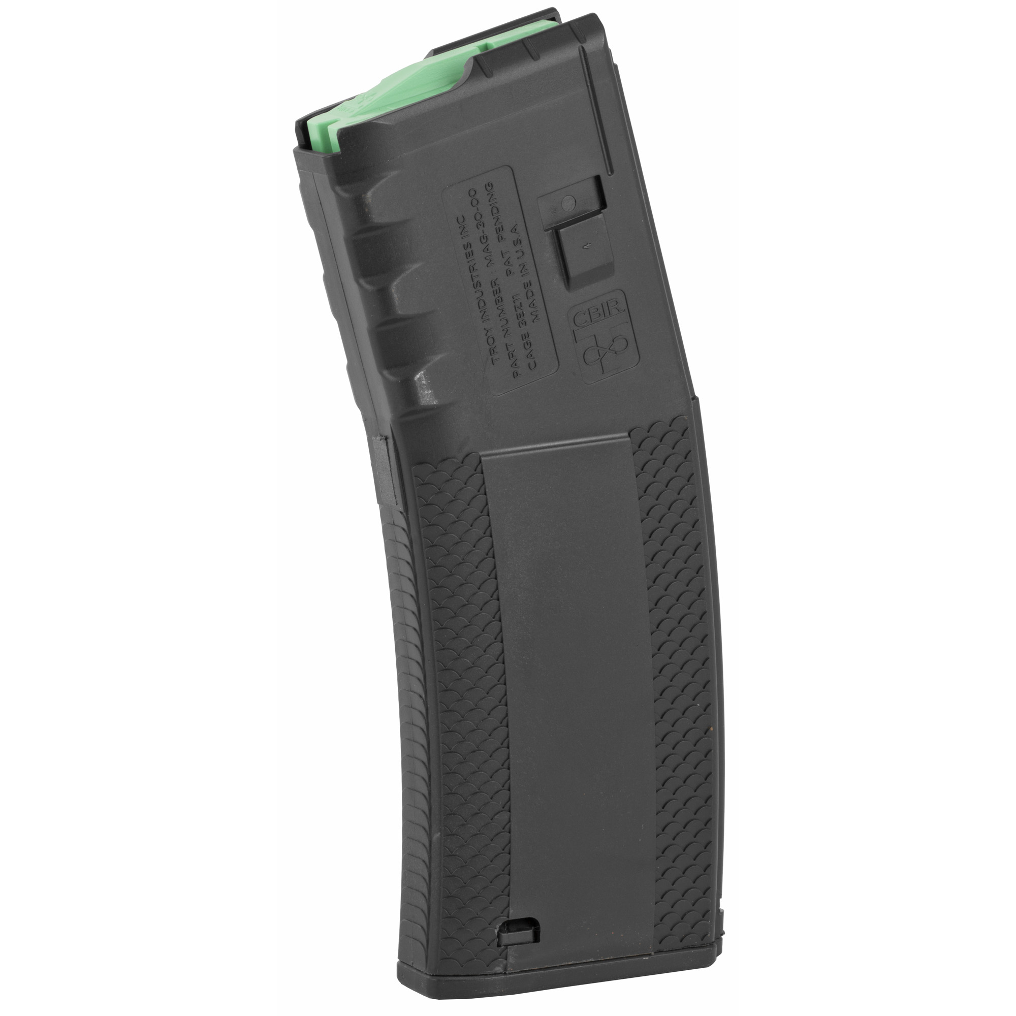 """The BattleMag is engineered to function flawlessly with all M4"""" M16/AR-15"""" HK416 and FN SCAR rifles and carbines. An aggressive scale pattern provides the ultimate magazine grip in dirty or wet conditions. A bolstered floor plate is set flush to eliminate the BattleMag from catching on other magazines or creating unnecessary bulk when stacked or pulled from a pouch. The reinforced feed lips and anti-tilt follower do not require a clamp to keep the feed lips from spreading when kept loaded for extended periods of time."""