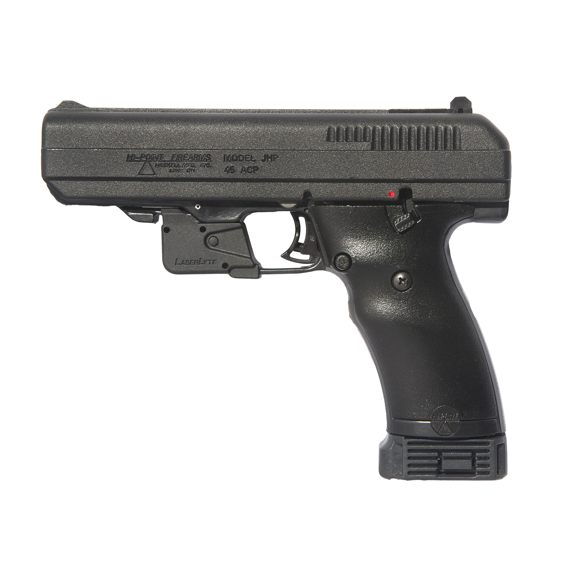 "All Hi-Point(R) handguns feature 100% American parts & assembly as well as a quick on-off thumb safety"" magazine disconnect safety"" high-impact polymer frame"" 3-dot sights and last round lock open."