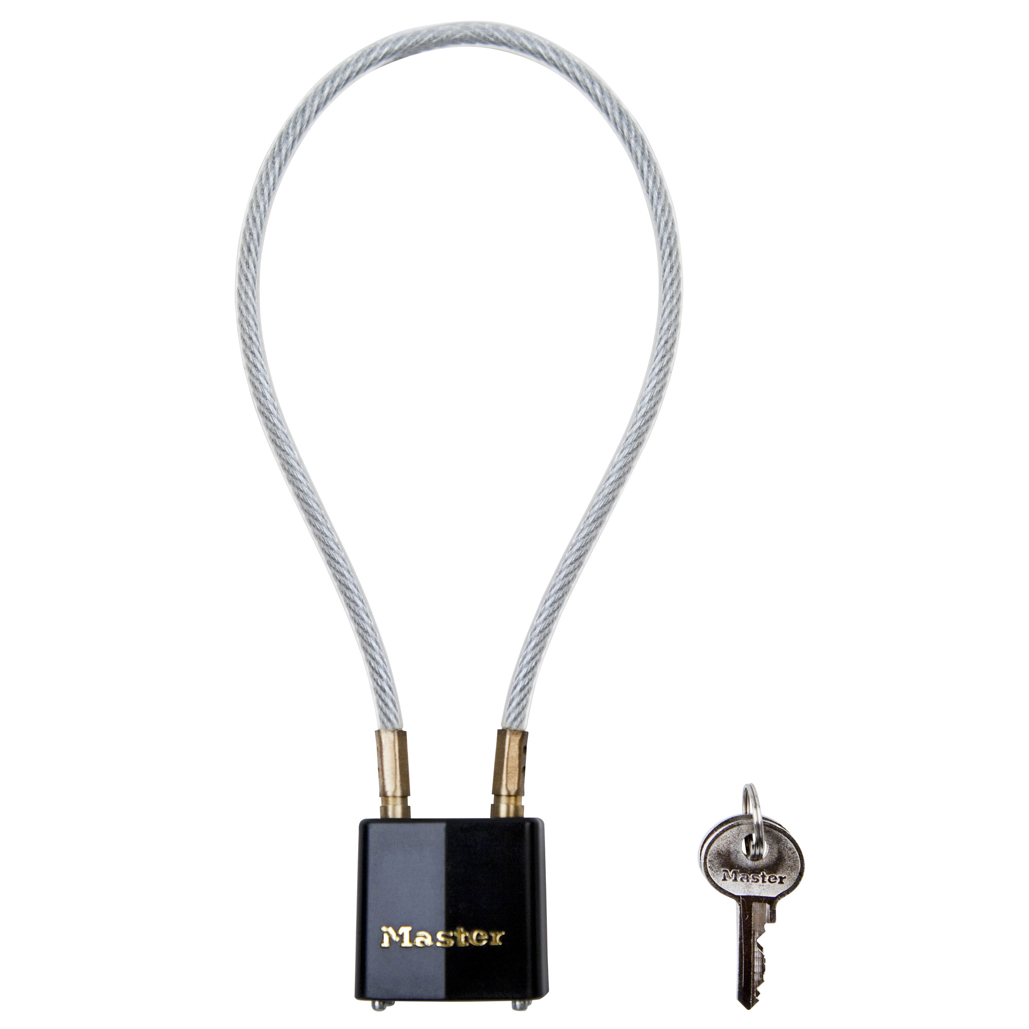 The Master Lock No. 99DSPT Cable Gun Lock is 14in (35cm) long and is made from braided steel for maximum strength and flexibility. The padlock features a 1-5/16in (33mm) wide laminated steel body for maximum strength and reliability.