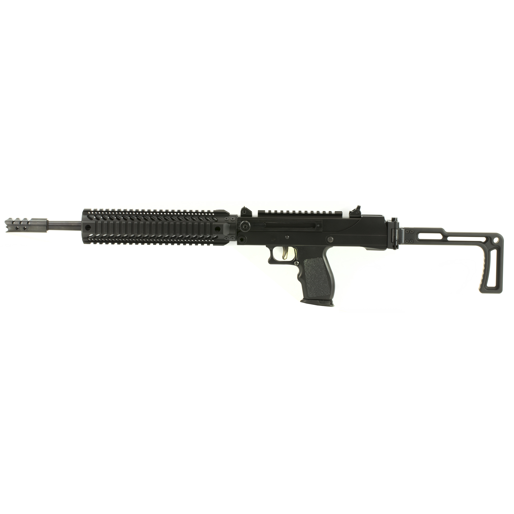 "This 5.7 Carbine features a 16"" threaded barrel"" adjustable sights"" side cocker"" and scope mount."