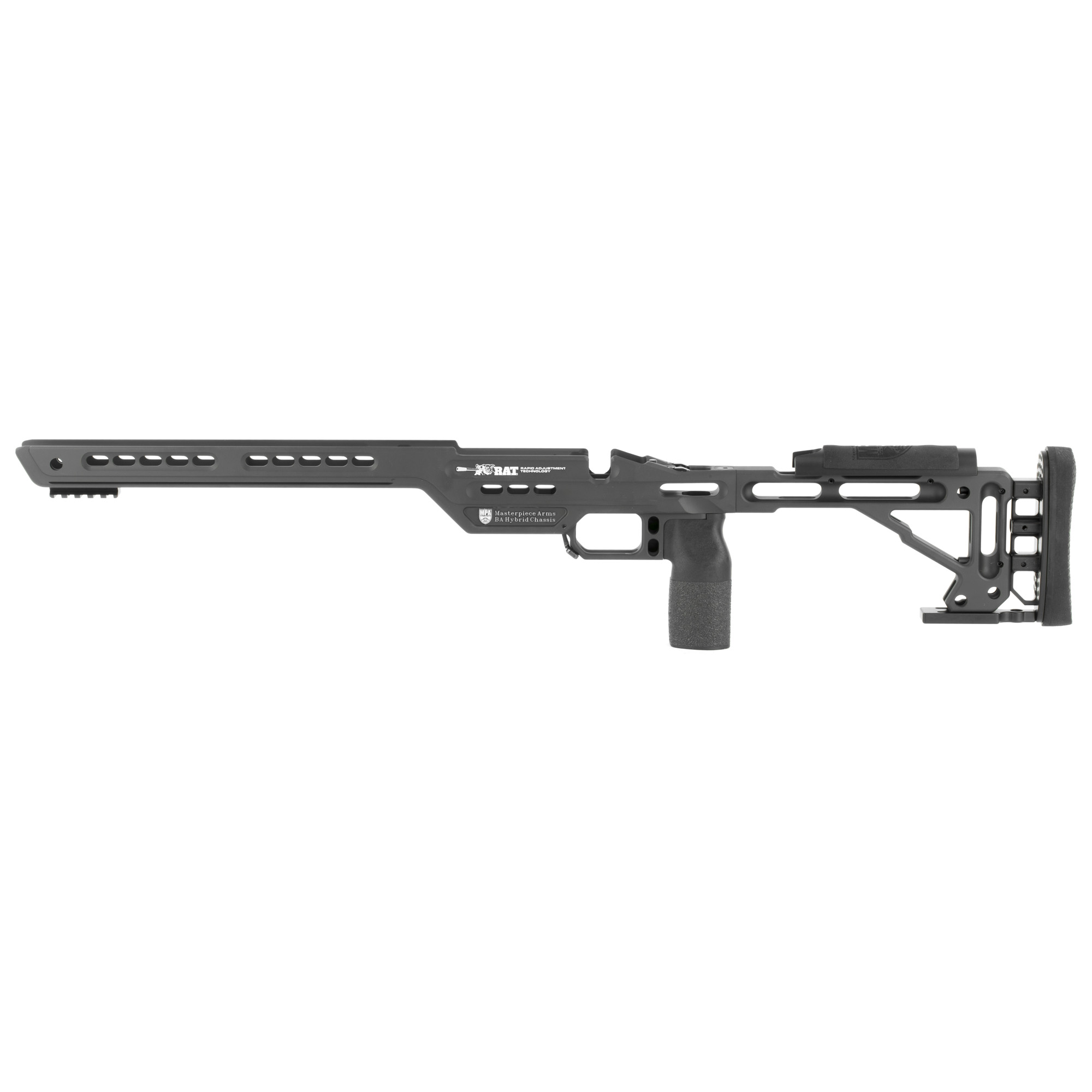 "MasterPiece Arms MPA BA Hybrid Chassis system provides a super precision platform for the Remington 700 Short Action. This is a hybrid version of their highly successful BA Chassis System. The Hybrid is designed to give the shooter a variety of different applications in which his/her rifle can be used through the use of this specially designed Chassis. For the shooter who wants to use all the many benefits this design offers for a hunting application"" it provides the reduced weight needed to all usage in a variety of different hunting scenarios. Whether your hunting white tail from your local tree stand or blind"" or hiking deep into the back country"" the weight of this chassis will not be a limiting factor. For those who want to use this for F-Class (FTR) that has a weight restriction on the overall weight of the rifle assembly"" this ultra-precision shooter can put more weight other areas of the rifle to provide them their desired accuracy performance without being hamstrung due to the weight of the stock. The PRS Shooter can also utilize all the ""game changing"" technology they include in this chassis design. One incredible enhancement that can be added to this chassis design is the MPA Weight Tuning System. This gives the shooter the ability to take this 3.5 lb. chassis and increase the weight up to 6.5 lbs."" and/or altering the balance point of the rifle assembly. Its truly a Hybrid design."
