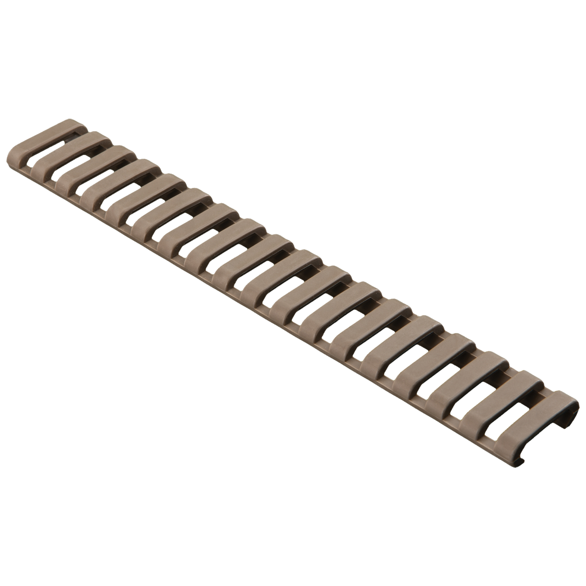 """Ladder Panels offer very low-profile 1913 Picatinny rail coverage. The Santoprene material provide a rubbery surface for improved weapon control and rail protection. Easily cut for custom lengths"""" each panel fits one side of a carbine-length rail (18 slots). One panel per package. Manufactured by Falcon Industries"""" Inc."""