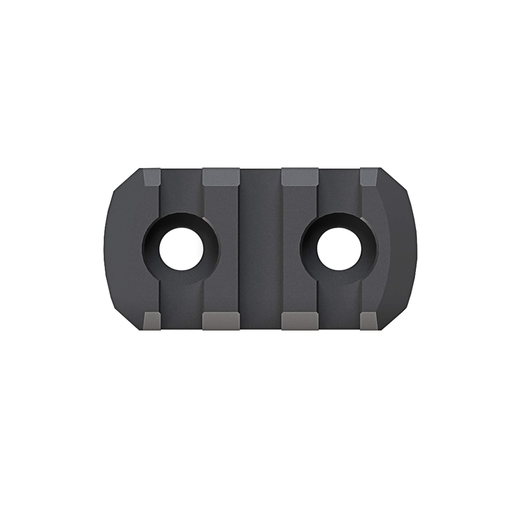 """Designed for use with all M-LOK compatible Hand Guards and Forends"""" M-LOK Polymer Rail Sections provide a cost effective method of attaching various 1913 Picatinny spec rail-mounted accessories such as lights"""" vertical grips"""" etc. Injection molded from a proprietary reinforced composite for enhanced strength and durability while remaining lightweight"""" Rail Sections also feature beveled ends to reduce snagging and eliminate sharp corners and edges. All hardware necessary for attachment directly to M-LOK Slots on either aluminum or polymer hand guards and forends is included. 3 Slots"""" max overall length of 1.6 in. Made in U.S.A."""