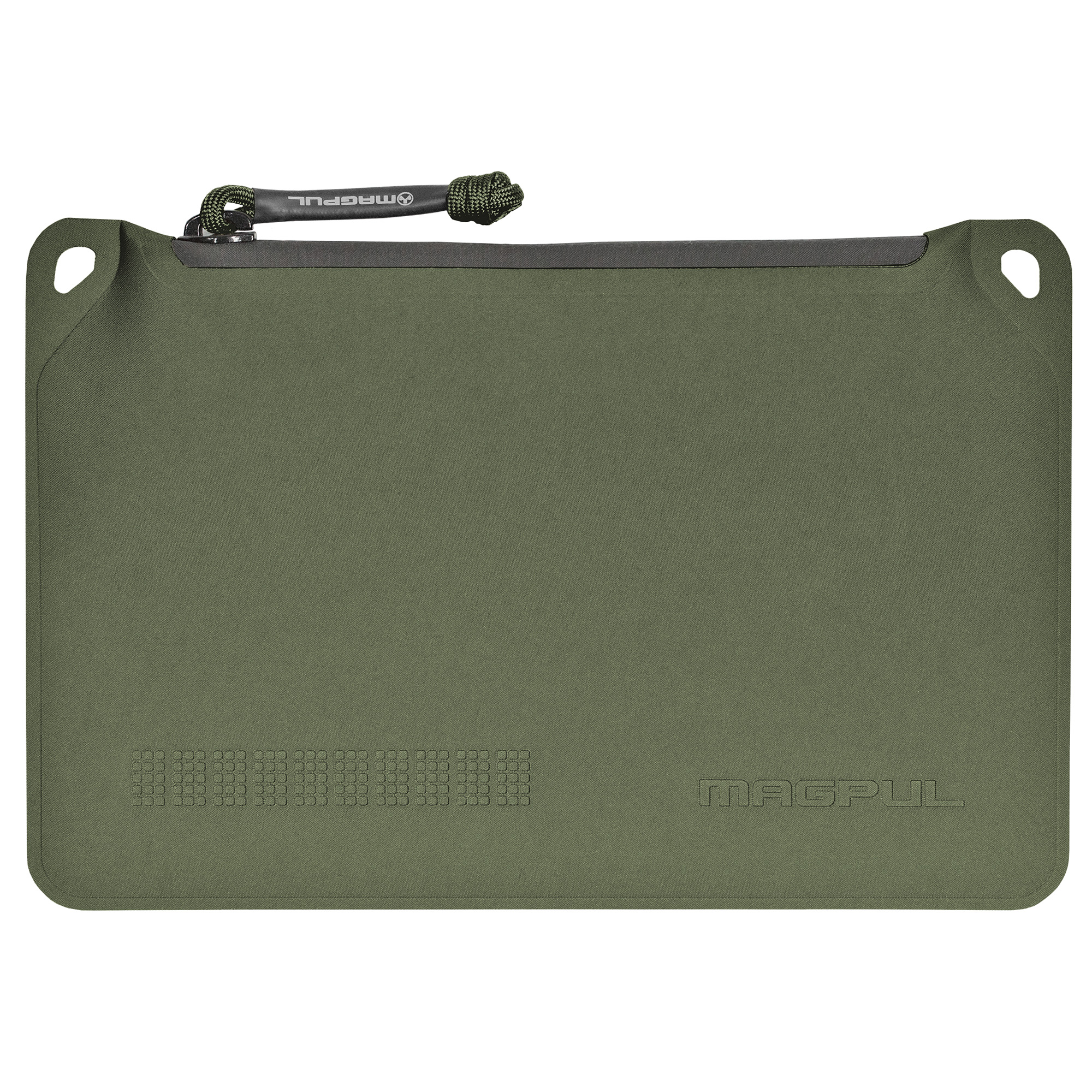 """The Magpul DAKA Pouch"""" designed to bring organization to the dusty"""" dirty"""" and muddy world we work and play in. Made from polymer infused textiles that are welded on all seams and use a genuine YKK(R) water resistant zipper. The construction methods and materials used mean that these pouches are at home in hard use applications like tool storage or bulk storage of your reloaded ammunition as well as lighter duties like organizing your personal electronic accessories. Although these pouches are not 100% water proof (read submersible) they will keep your items dry under most wet weather situations making them a great choice for most outdoor adventures. Made in the U.S.A."""