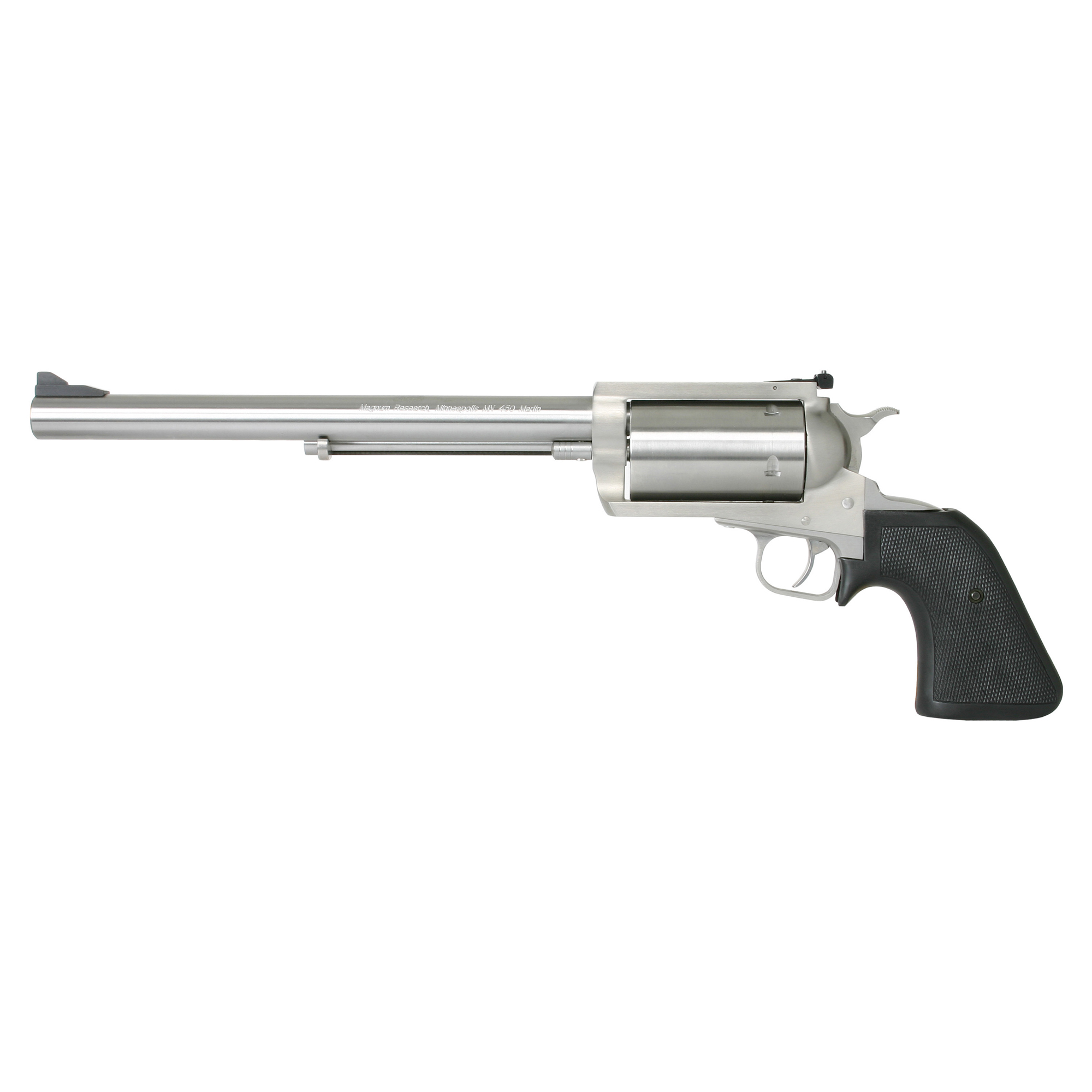 """Magnum Research's Biggest Finest Revolver is truly the biggest"""" finest revolver on the market today. Entirely manufactured in the US and like the legendary Desert Eagle pistol it is designed as a magnum from the ground up. The BFR is all stainless and has a precision grade barrel that delivers unmatched accuracy with lead or jacketed bullets. The BFR is the most powerful production single action gun made and with 10 calibers and two frame sizes to choose from you can take everything from grouse to grizzly."""