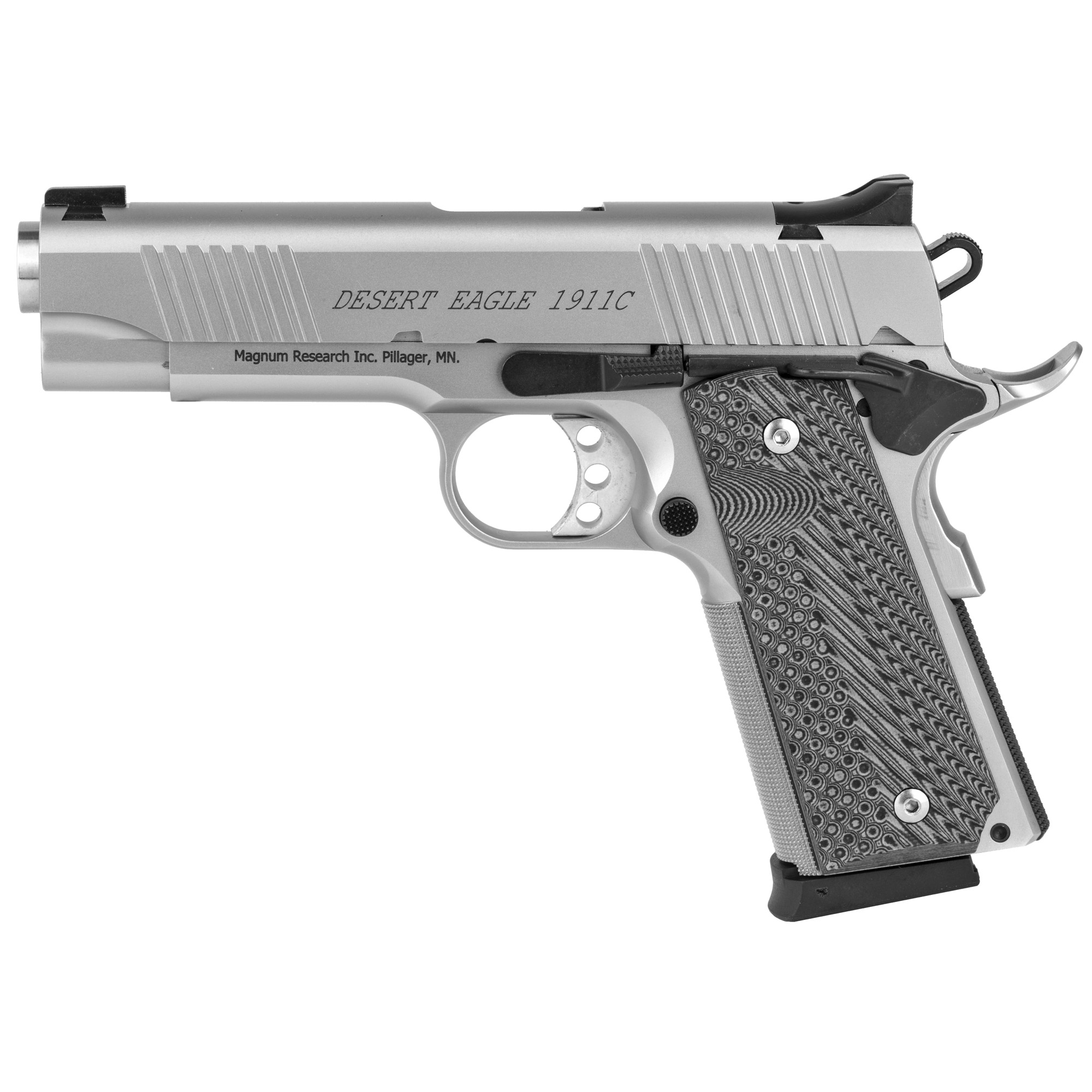 """All Desert Eagle 1911 series 70 slide and frame rails are machined to aerospace tolerances"""" delivering accuracy that will match any custom gun. Offered in both Chrome Moly and Stainless and feature stainless match barrels"""" G-10 grips"""" light triggers with zero creep"""" and a stainless beavertail grip safety. The G (5"""" barrel) and C (4.33"""" barrel) models are equipped with fixed combat sights and the Undercover """"U"""" (3"""" barrel) models come with an adjustable rear sight. Desert Eagle 1911s chambered in 45 ACP all have a traditional feed ramp machined into the frame"""" while all 9mm pistols have a ramped barrel with fully supported chamber. Only the 1911G models have a traditional barrel bushing in the slide. The 1911C and U models feature a bushingless slide and bull barrel. With the shorter slides of the C and U models"""" the bushingless slide allows for a longer recoil spring and ensures reliable function. Includes two 8-round magazines."""