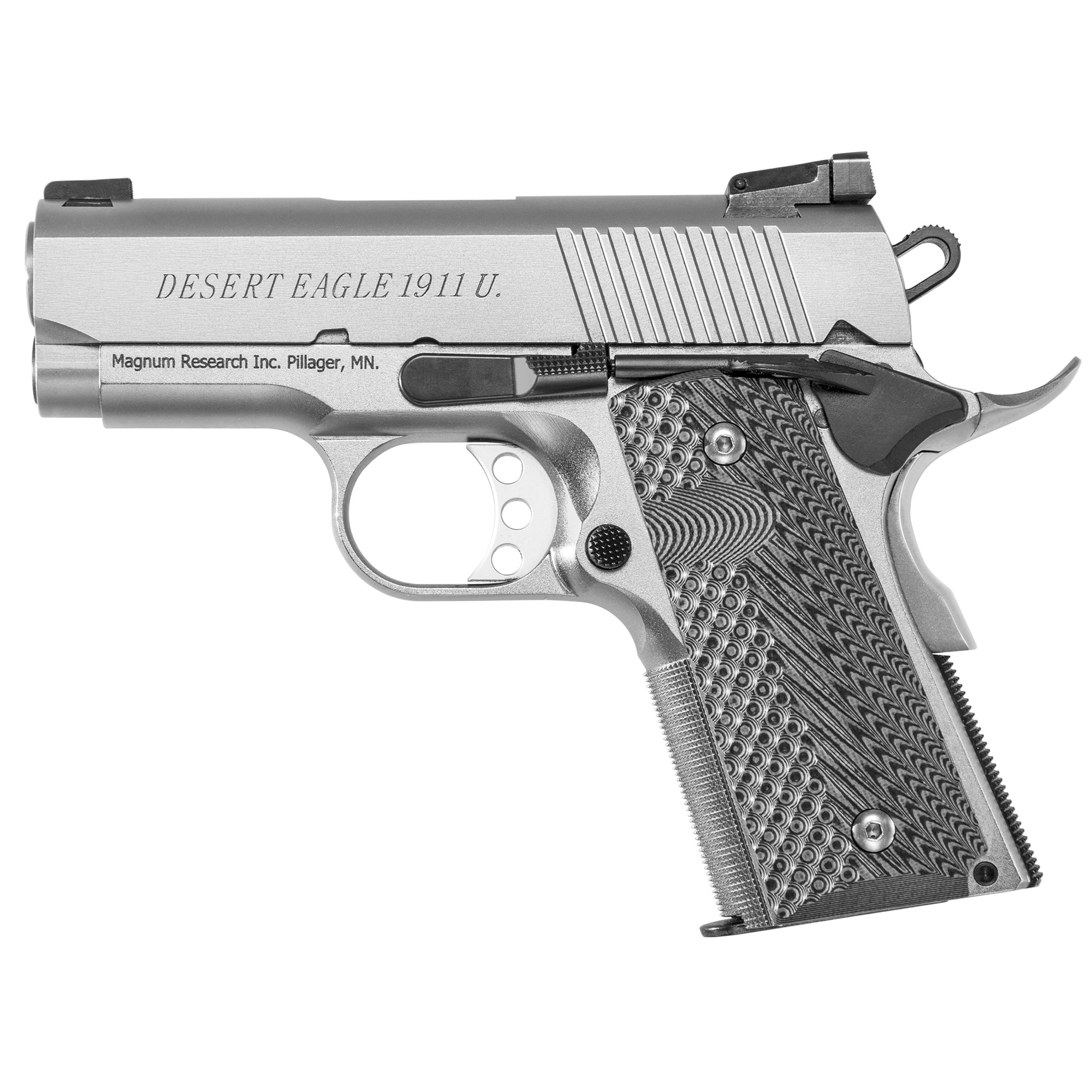 """All Desert Eagle 1911 series 70 slide and frame rails are machined to aerospace tolerances"""" delivering accuracy that will match any custom gun. Offered in both Chrome Moly and Stainless and feature stainless match barrels"""" G-10 grips"""" light triggers with zero creep"""" and a stainless beavertail grip safety. The G (5"""" barrel) and C (4.33"""" barrel) models are equipped with fixed combat sights and the Undercover """"U"""" (3"""" barrel) models come with an adjustable rear sight. Desert Eagle 1911s chambered in 45 ACP all have a traditional feed ramp machined into the frame"""" while all 9mm pistols have a ramped barrel with fully supported chamber. Only the 1911G models have a traditional barrel bushing in the slide. The 1911C and U models feature a bushingless slide and bull barrel. With the shorter slides of the C and U models"""" the bushingless slide allows for a longer recoil spring and ensures reliable function. Includes two 6-round magazines."""