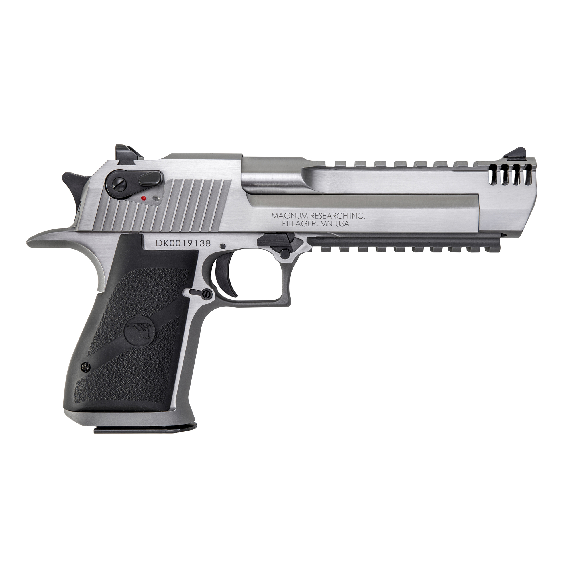"""This Magnum Research Mark XIX Desert Eagle .44 Magnum is constructed of an all stainless steel frame"""" slide"""" barrel and rail"""" and is accented with attractive black appointments. It has a 6-inch barrel and an integral muzzle brake. With the new integral muzzle brake"""" it offers significant recoil reduction"""" less muzzle flip and an attractive streamlined appearance. In addition"""" because the overall length remains the same as the standard 6"""" barrel model"""" the same holsters will fit these models. It also features a new picatinny bottom rail for accessories. Includes one 8-round magazine."""