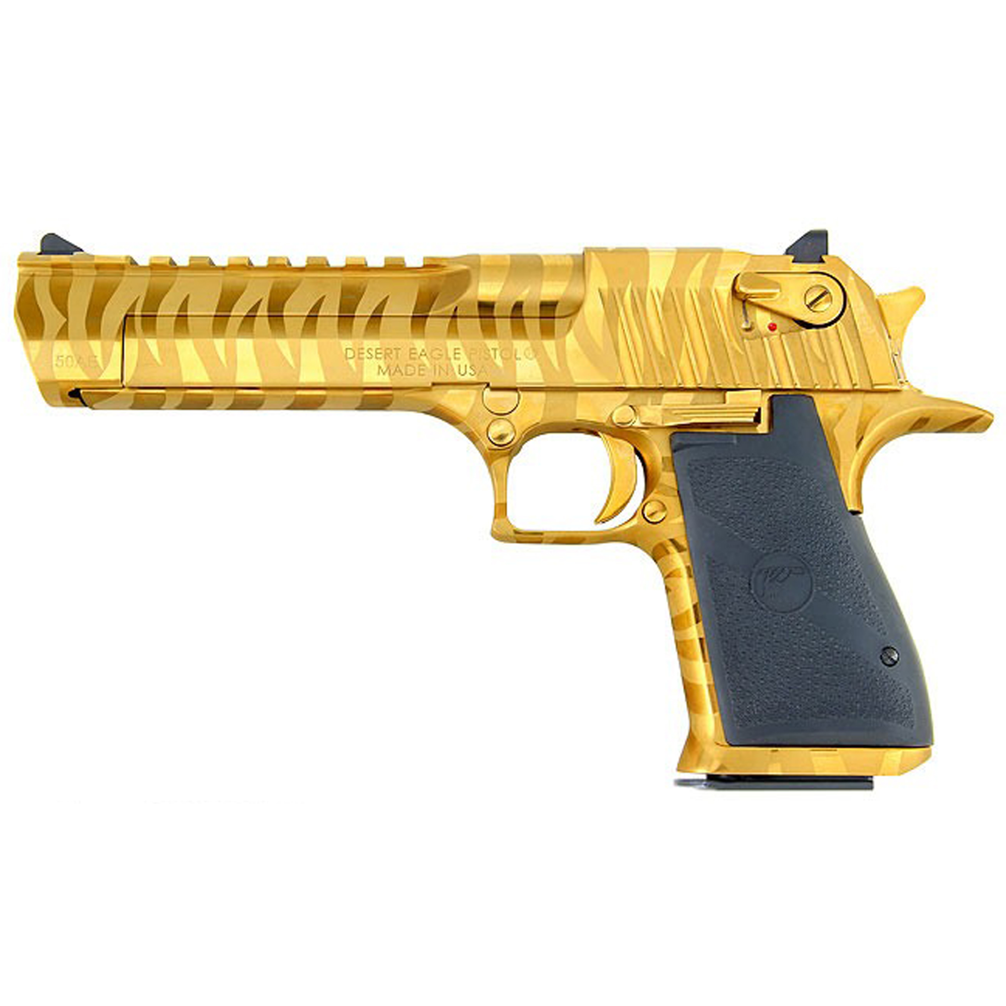 """After 25 years of being accessorized"""" customized and re-imagined in countless movies"""" television shows and video games"""" the Desert Eagle Pistol has emerged as a pop-culture icon. You can customize your Desert Eagle Pistol with a variety of impressive finishes to add your own distinctive twist to this timeless firearm. All models feature a full picatinny style accessory rail on the barrel from the end of the chamber to right behind the front sight and standard ambidextrous safeties. Comes with one 8-round magazine."""