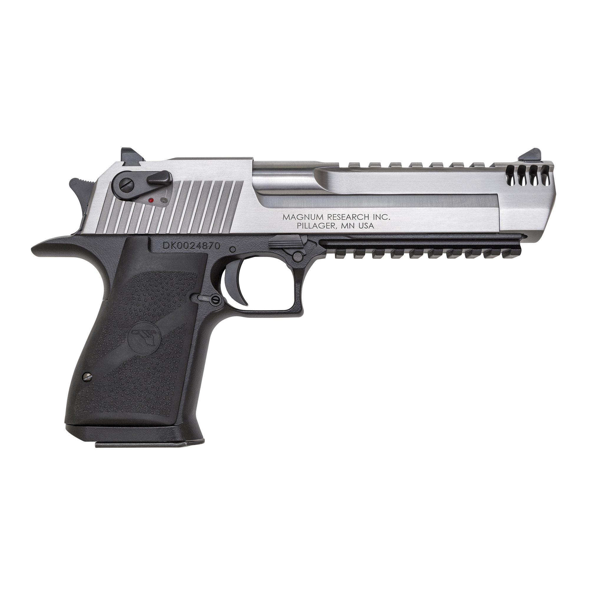 """After 25 years of being accessorized"""" customized and re-imagined in countless movies"""" television shows and video games"""" the Desert Eagle(R) Pistol has emerged as a pop-culture icon. You can customize your Desert Eagle Pistol with a variety of impressive finishes to add your own distinctive twist to this timeless firearm. All models feature a full Weaver style accessory rail on the barrel from the end of the chamber to right behind the front sight and standard ambidextrous safeties. Includes one 7-round magazine."""