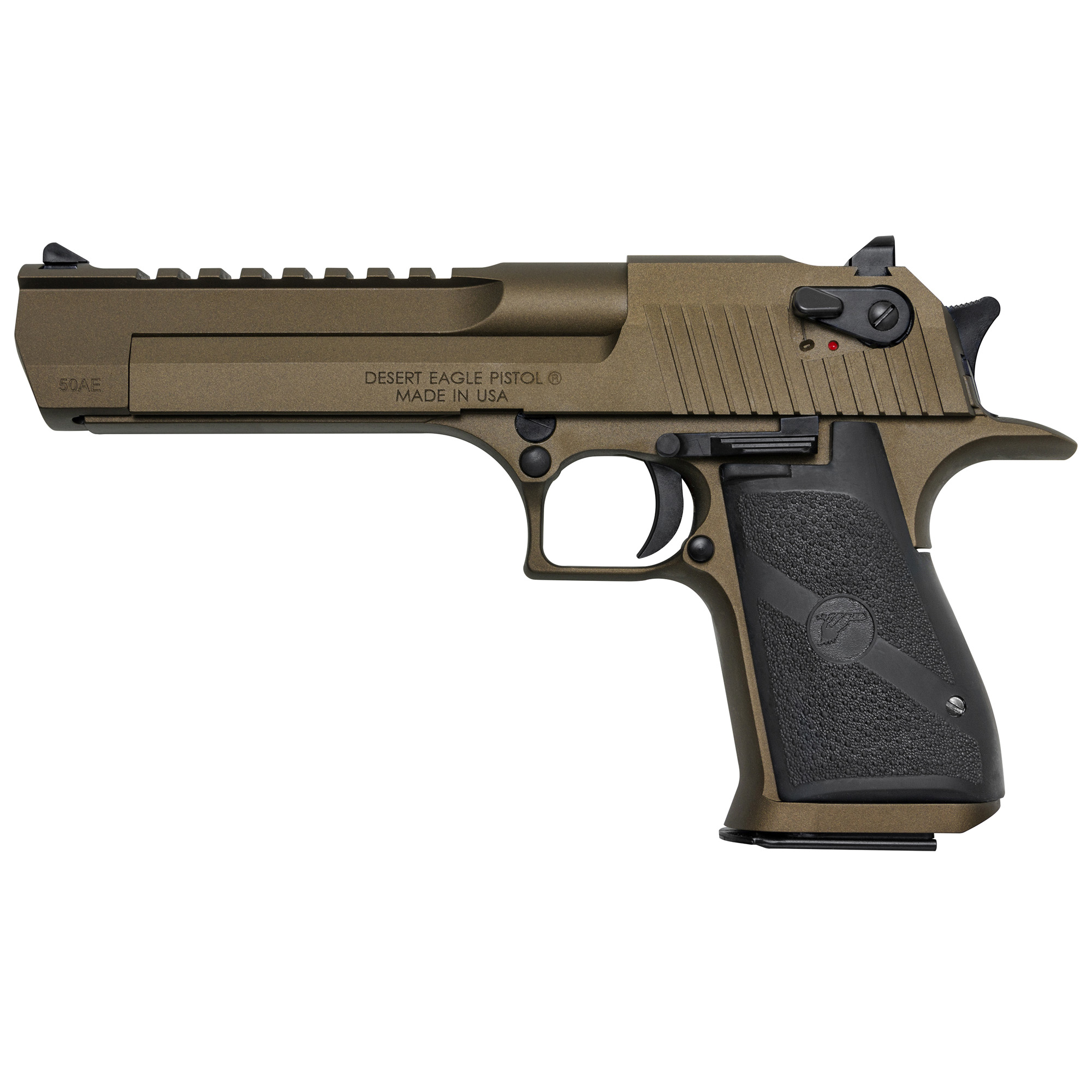 """The manufacturing ingenuity behind USA based"""" Magnum Research"""" Inc. (MRI) has been turning heads for decades. The iconic Desert Eagle has been featured on the Silver Screen"""" TV and video games"""" but now"""" MRI has made it even sexier. Introducing the Mark XIX Desert Eagle .50 AE and .44 Magnum in a new high temperature ceramic Cerakote(TM) coating called Burnt Bronze. The Burnt Bronze model has attractive black appointments which gives the pistol even more appeal. The construction of the Mark XIX Desert Eagle utilizes the latest CNC machine technology providing exacting specifications with tight tolerances creating a work of art in a precision firearm. The grip is anatomically formed and provides an ideal hand seating angle for two-handed shooting allowing for comfortable"""" rapid and accurate firing. The Weaver style accessory rail easily allows for aftermarket optics and scope rings. Includes one 7-round magazine."""