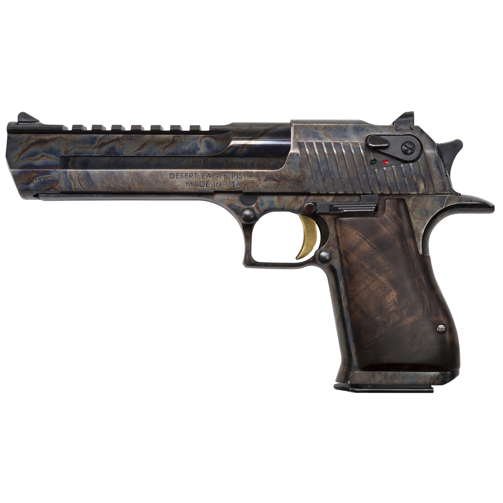 """After 25 years of being accessorized"""" customized and re-imagined in countless movies"""" television shows and video games"""" the Desert Eagle Pistol has emerged as a pop-culture icon. You can customize your Desert Eagle Pistol with a variety of impressive finishes to add your own distinctive twist to this timeless firearm. All models feature a full Weaver style accessory rail on the barrel from the end of the chamber to right behind the front sight and standard ambidextrous safeties. Includes one 7-round magazine"""" a Walnut Grip with engraved Desert Eagle logo and Hogue rubber grips."""